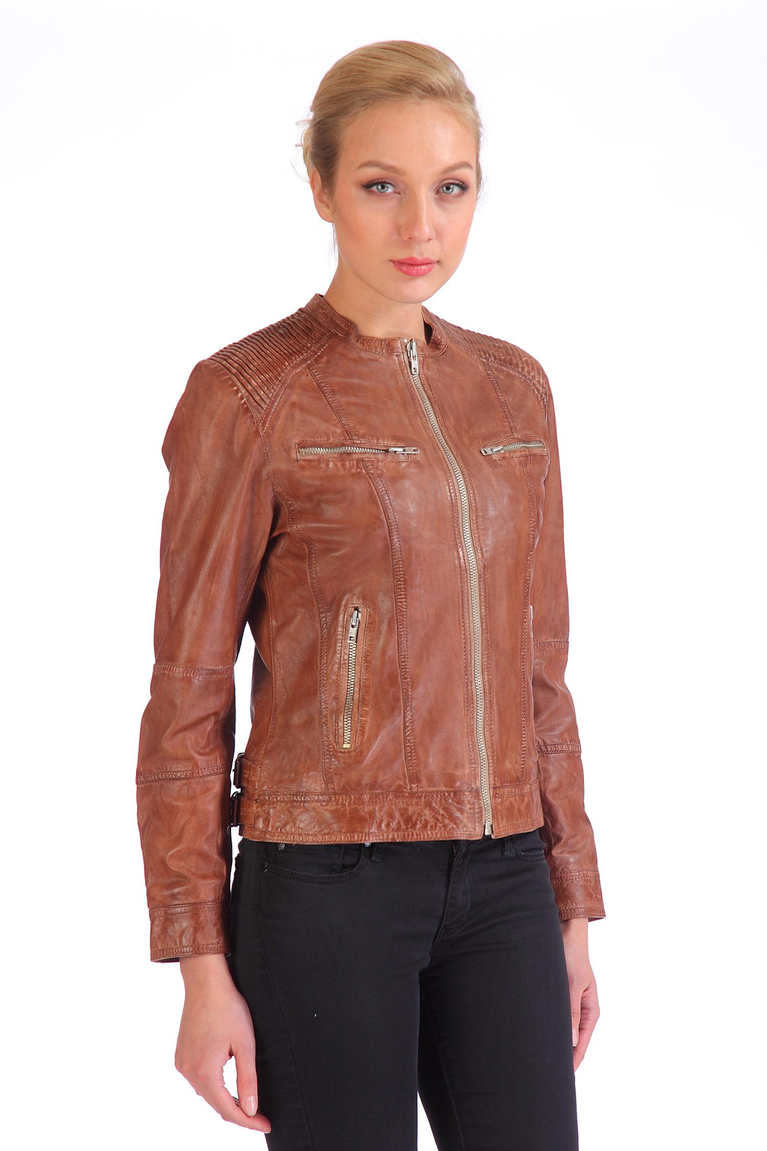 Женская кожаная куртка из натуральной кожи, без отделки<br><br>Длина см: Короткая (51-74 )<br>Материал: Кожа овчина<br>Цвет: коричневый<br>Застежка: на молнии<br>Пол: Женский<br>Размер RU: 46