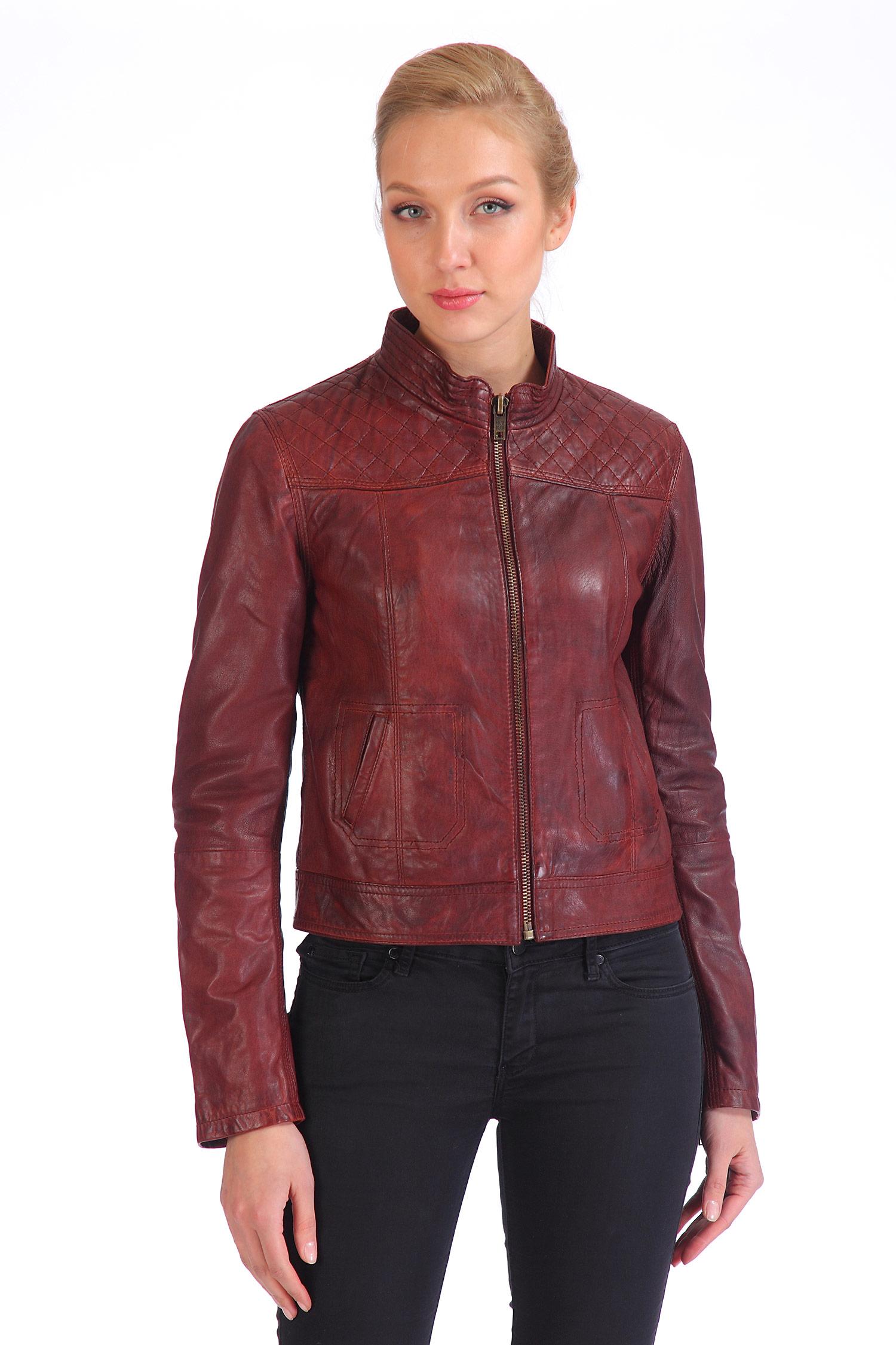 Женская кожаная куртка из натуральной кожи с воротником, без отделки<br><br>Воротник: стойка<br>Длина см: Короткая (51-74 )<br>Материал: Кожа овчина<br>Цвет: бордовый<br>Застежка: на молнии<br>Пол: Женский<br>Размер RU: 48