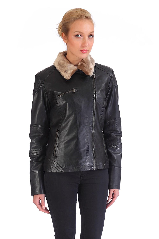 Женская кожаная куртка из натуральной кожи с воротником, искусственный мех от Московская Меховая Компания