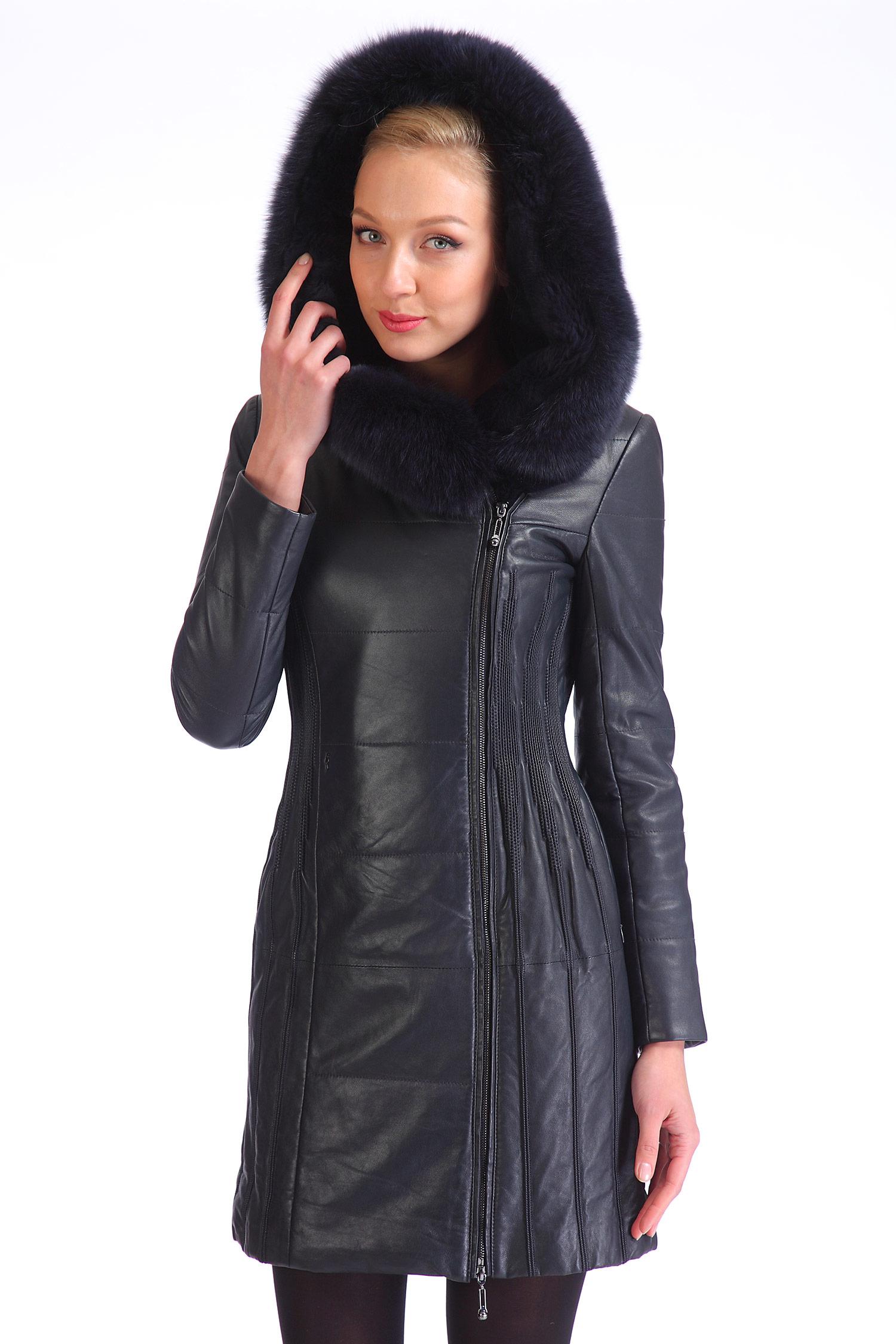 Женское кожаное пальто из натуральной кожи с капюшоном, отделка песец<br><br>Воротник: Капюшон<br>Длина см: 85<br>Материал: Натуральная кожа<br>Цвет: Синий<br>Вид застежки: Песец<br>Пол: Женский