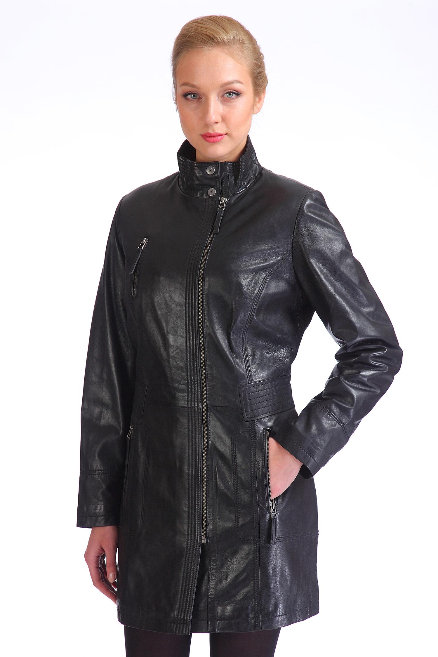 Женское кожаное пальто из натуральной кожи с воротником, без отделки<br><br>Воротник: стойка<br>Длина см: Средняя (75-89 )<br>Материал: Кожа овчина<br>Цвет: черный<br>Застежка: на молнии<br>Пол: Женский<br>Размер RU: 40-42