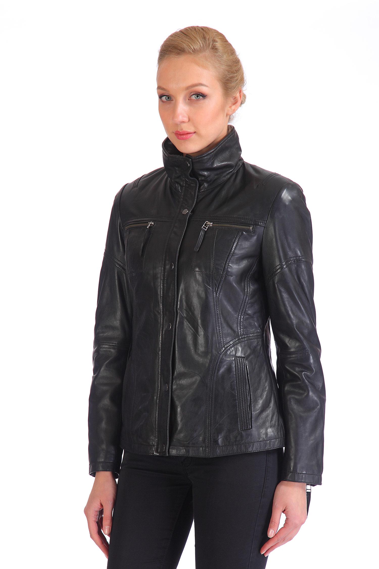 Женская кожаная куртка из натуральной кожи с воротником, без отделки<br><br>Воротник: стойка<br>Длина см: Короткая (51-74 )<br>Материал: Кожа овчина<br>Цвет: черный<br>Застежка: на молнии<br>Пол: Женский<br>Размер RU: 50-52