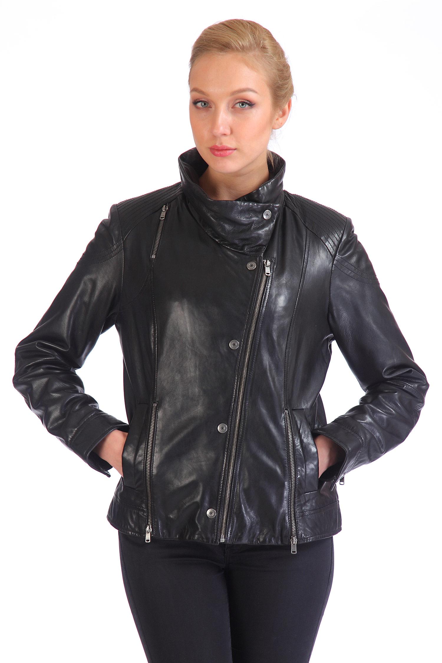 Женская кожаная куртка из натуральной кожи с воротником, без отделки<br><br>Воротник: стойка<br>Длина см: Короткая (51-74 )<br>Материал: Кожа овчина<br>Цвет: черный<br>Пол: Женский<br>Размер RU: 40-42