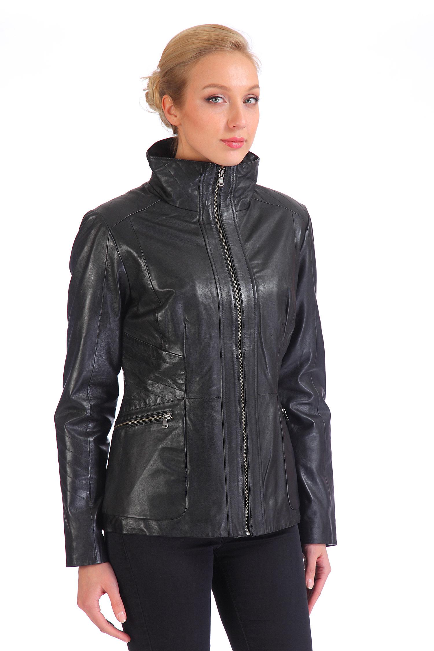 Женская кожаная куртка из натуральной кожи с воротником, без отделки<br><br>Воротник: стойка<br>Длина см: Короткая (51-74 )<br>Материал: Кожа овчина<br>Цвет: черный<br>Пол: Женский<br>Размер RU: 38-40
