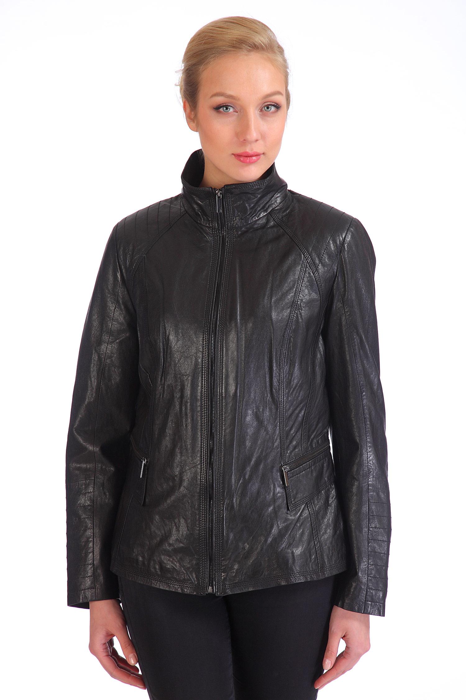 Женская кожаная куртка из натуральной кожи с воротником, отделка искусственный мех от Московская Меховая Компания