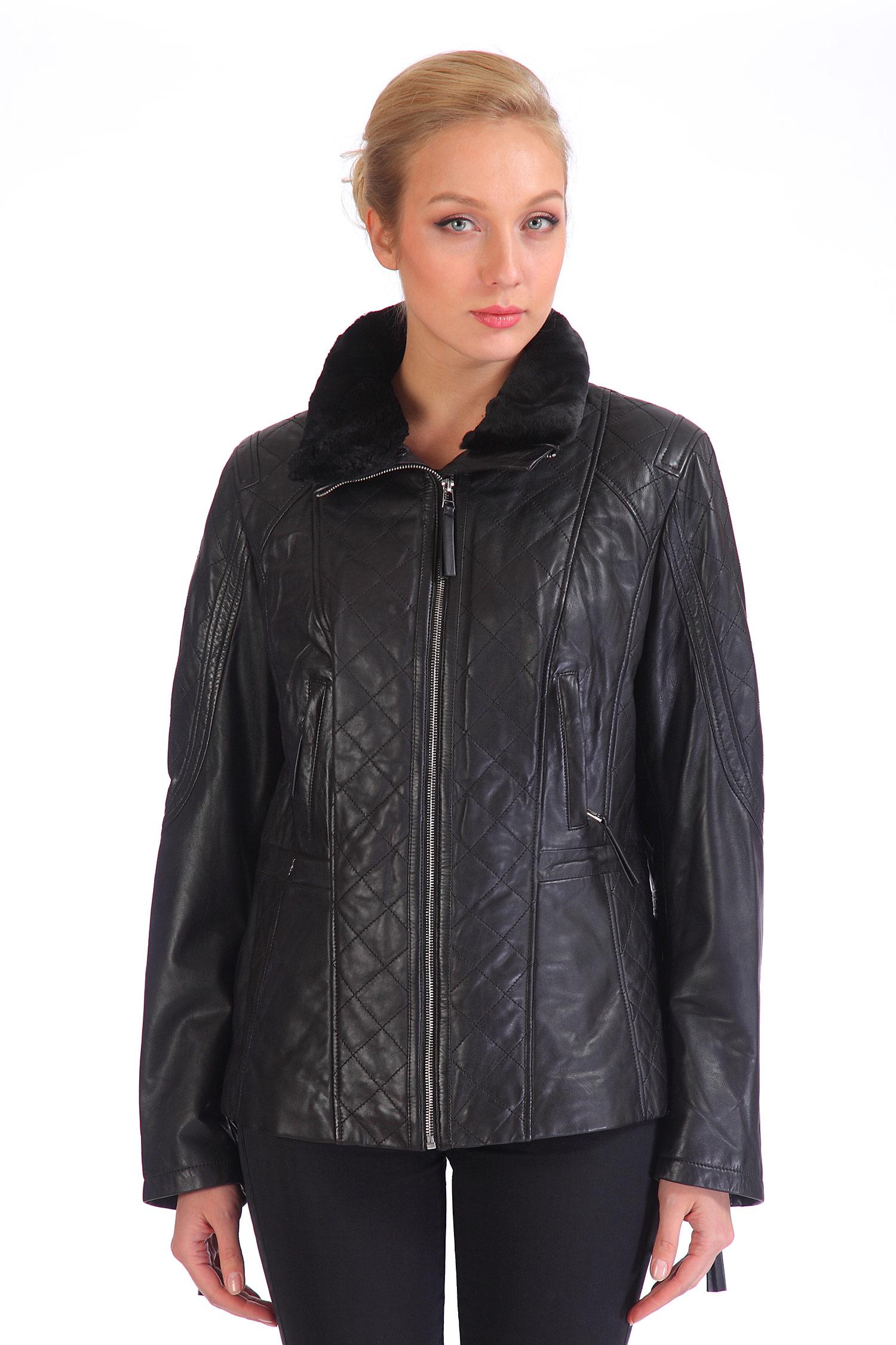 Женская кожаная куртка из натуральной кожи с воротником, отделка искусственный мех<br><br>Воротник: стойка<br>Длина см: Короткая (51-74 )<br>Материал: Кожа овчина<br>Цвет: черный<br>Застежка: на молнии<br>Пол: Женский<br>Размер RU: 50-52