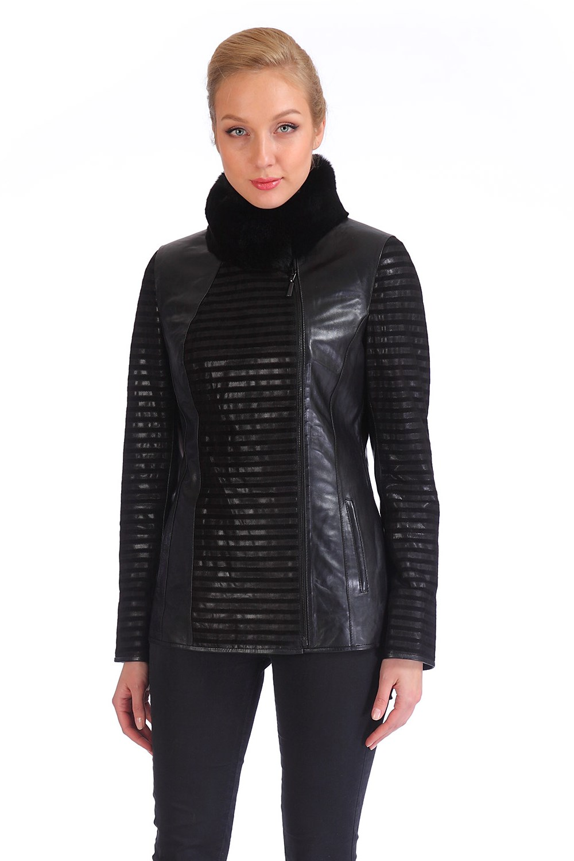 Женская кожаная куртка из натуральной кожи с воротником, отделка кролик<br><br>Воротник: стойка<br>Длина см: Короткая (51-74 )<br>Материал: Кожа овчина<br>Цвет: черный<br>Пол: Женский<br>Размер RU: 50