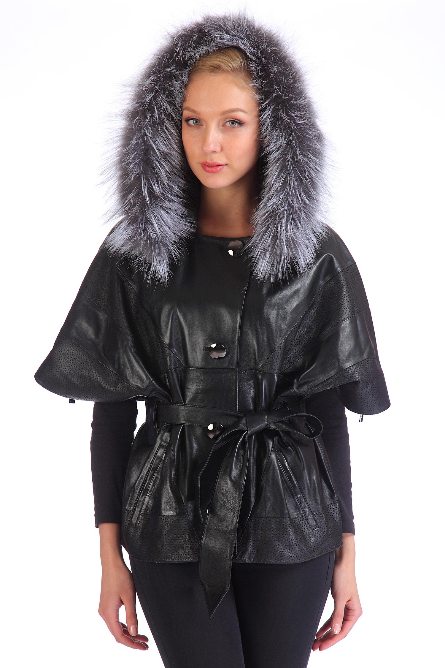 Женская кожаная куртка из натуральной кожи с капюшоном, отделка чернобурка<br><br>Воротник: капюшон<br>Длина см: Короткая (51-74 )<br>Материал: Кожа овчина<br>Цвет: черный<br>Пол: Женский<br>Размер RU: 58