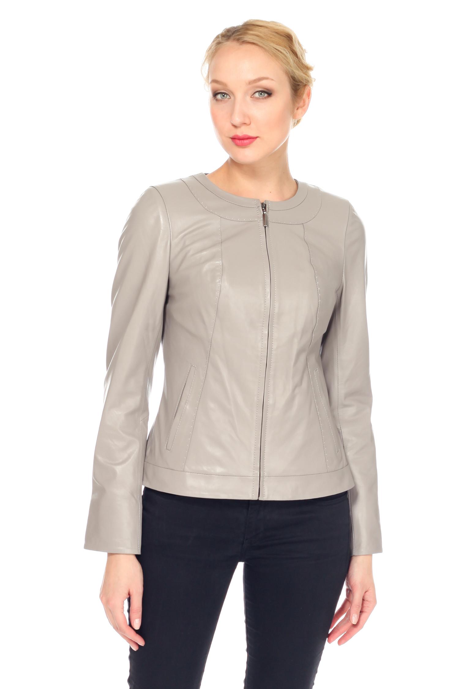 Женская кожаная куртка из натуральной кожи с воротником, без отделки<br><br>Длина см: Короткая (51-74 )<br>Воротник: без воротника<br>Цвет: серый<br>Материал: Кожа овчина<br>Пол: Женский<br>Размер RU: 44