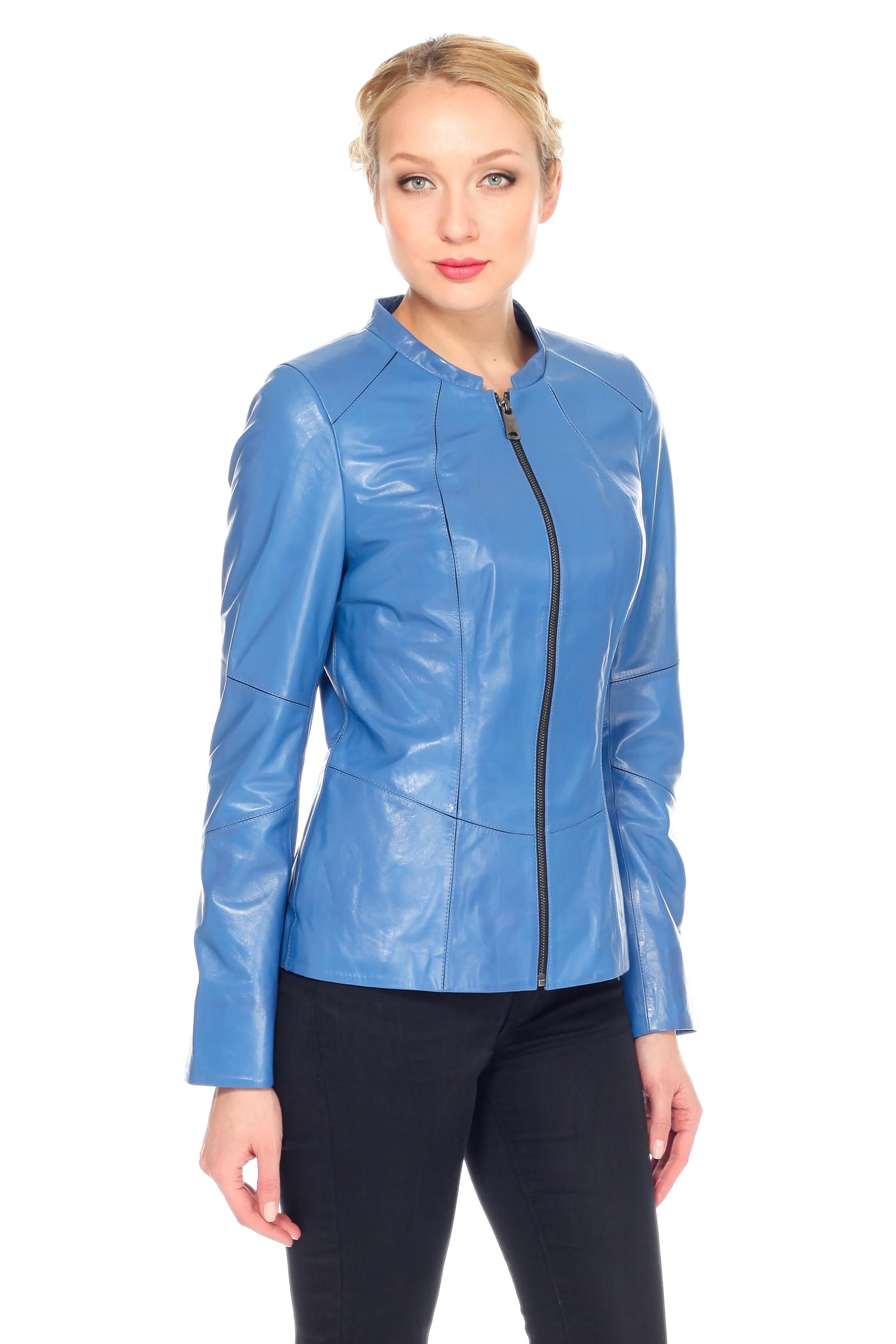 Женская кожаная куртка из натуральной кожи, без отделки<br><br>Материал: Кожа овчина<br>Воротник: без воротника<br>Цвет: голубой<br>Длина см: Короткая (51-74 )<br>Пол: Женский<br>Размер RU: 44