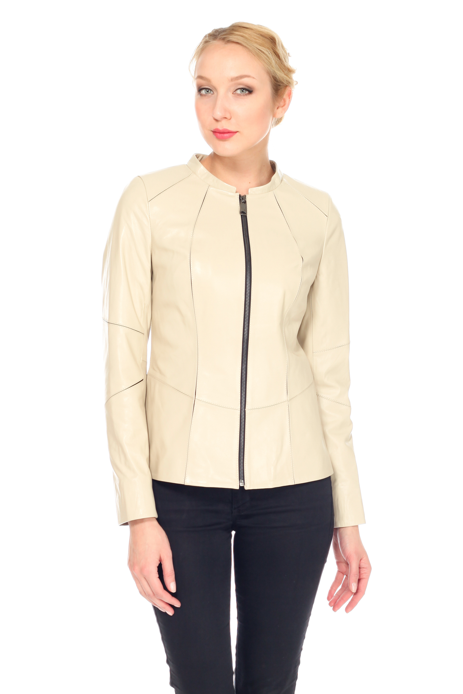 Женская кожаная куртка из натуральной кожи, без отделки<br><br>Длина см: Короткая (51-74 )<br>Материал: Кожа овчина<br>Цвет: бежевый<br>Пол: Женский<br>Размер RU: 52
