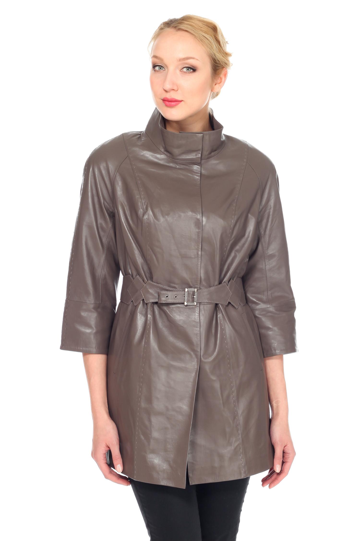 Женская кожаная куртка из натуральной кожи с воротником, без отделки<br><br>Воротник: стойка<br>Длина см: Средняя (75-89 )<br>Материал: Кожа овчина<br>Цвет: бежевый<br>Застежка: на кнопки<br>Пол: Женский<br>Размер RU: 54