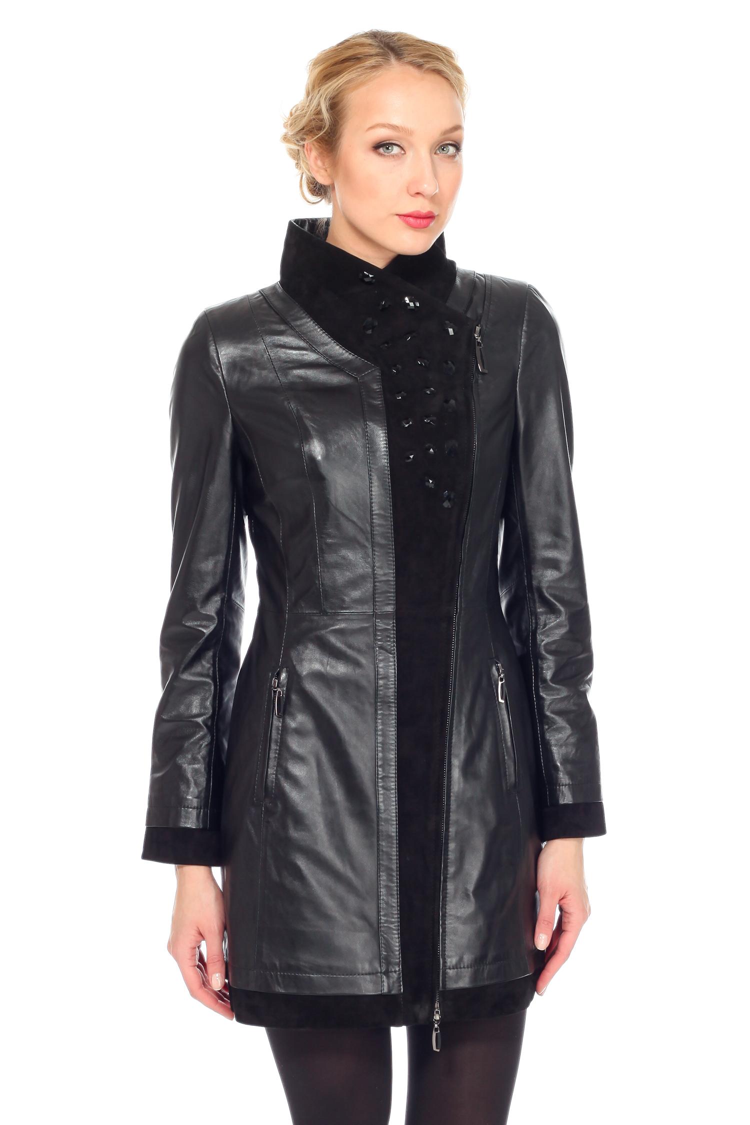 Женская кожаная куртка из натуральной кожи с воротником, без отделки. Производитель: Московская Меховая Компания, артикул: 6614