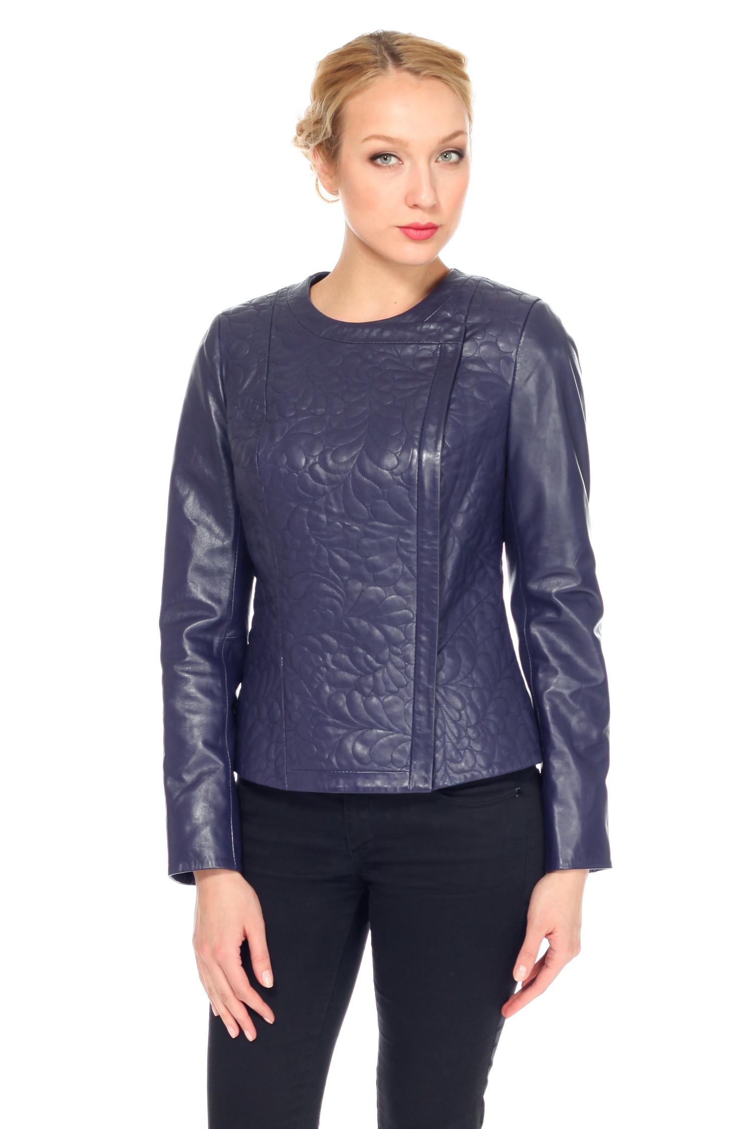 Женская кожаная куртка из натуральной кожи, без отделки<br><br>Цвет: синий<br>Длина см: Короткая (51-74 )<br>Материал: Кожа овчина<br>Застежка: на молнии<br>Воротник: без воротника<br>Пол: Женский<br>Размер RU: 46