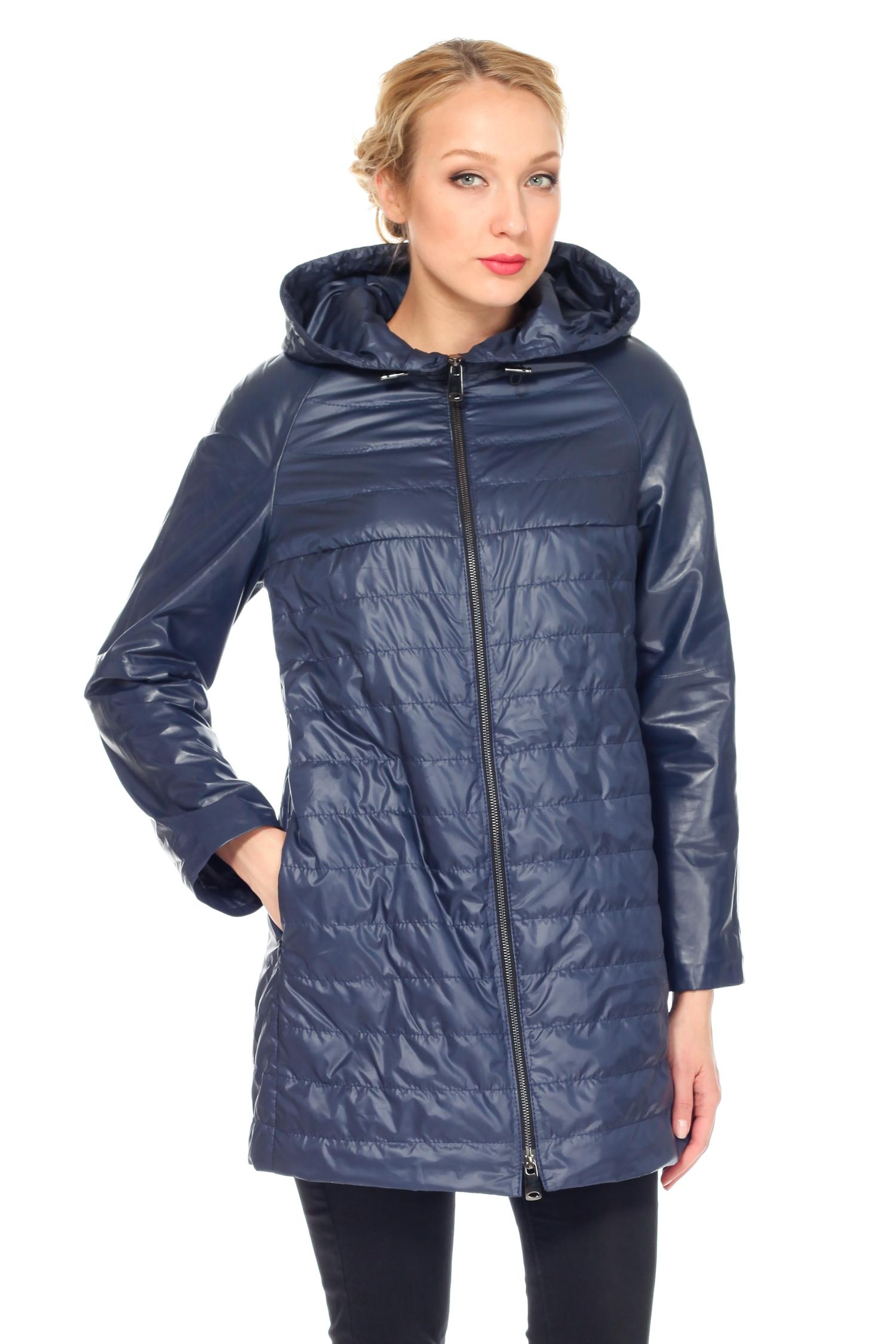 Женская кожаная куртка из натуральной кожи с капюшоном, без отделки<br><br>Воротник: капюшон<br>Длина см: Средняя (75-89 )<br>Материал: Кожа овчина<br>Цвет: синий<br>Вид застежки: центральная<br>Застежка: на молнии<br>Пол: Женский<br>Размер RU: 52