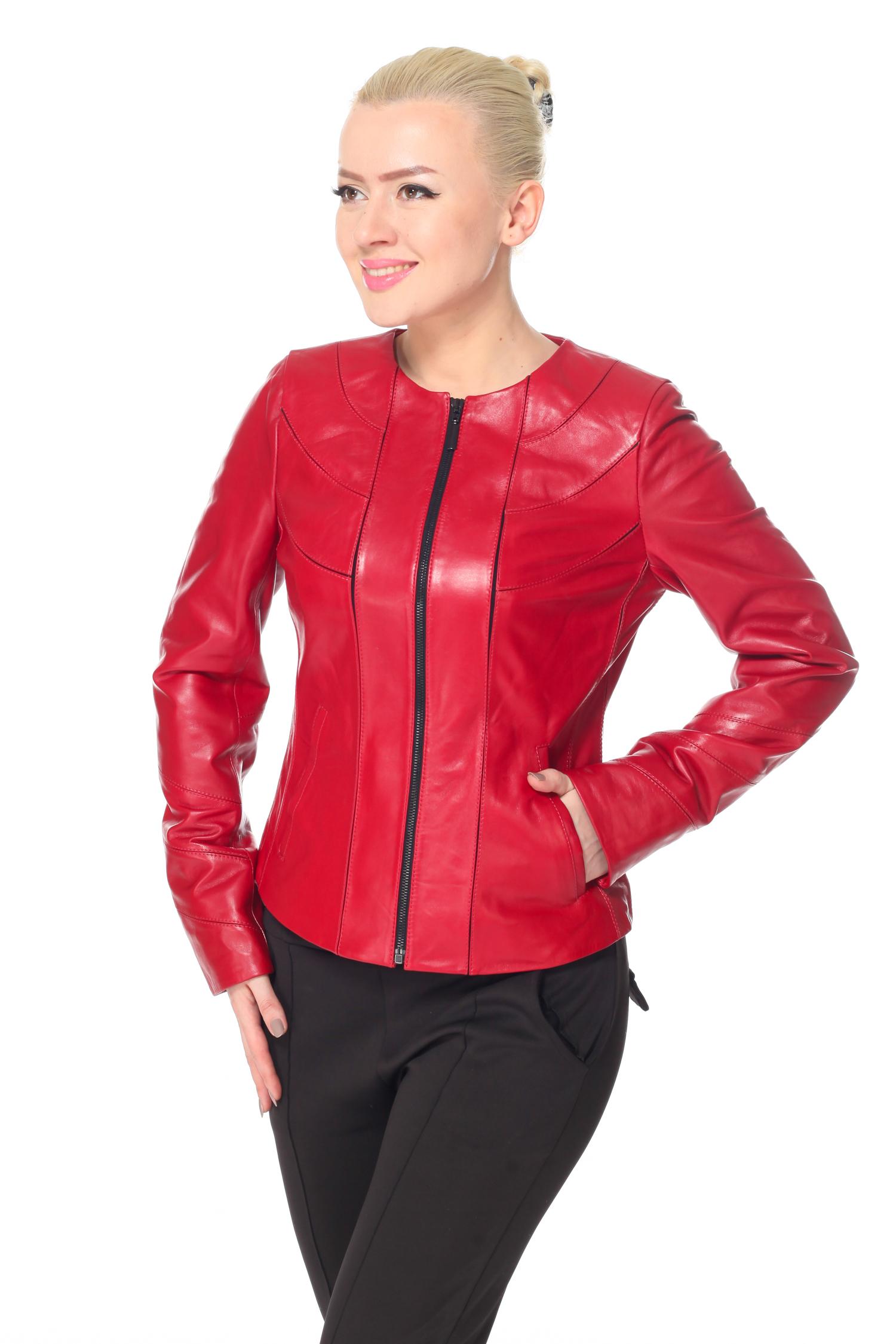 Женская кожаная куртка из натуральной кожи, без отделки