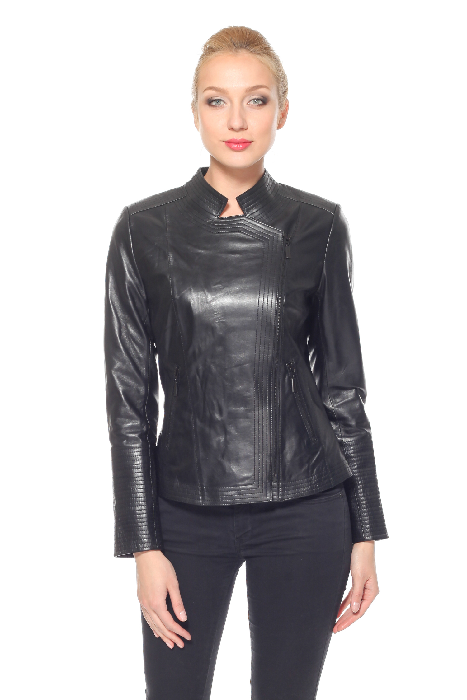 Женская кожаная куртка из натуральной кожи с воротником, без отделки<br><br>Воротник: стойка<br>Длина см: Короткая (51-74 )<br>Материал: Кожа овчина<br>Цвет: черный<br>Застежка: на молнии<br>Пол: Женский<br>Размер RU: 56