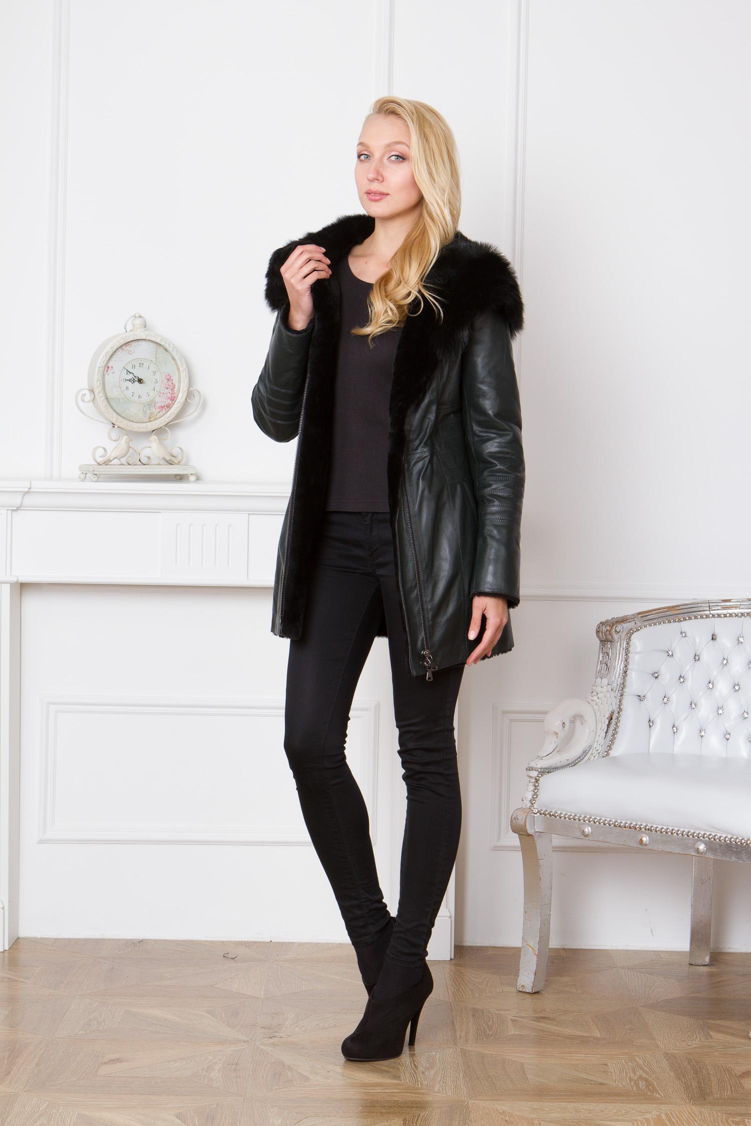 Женская кожаная куртка из натуральной кожи на меху с капюшоном, отделка тоскана от Московская Меховая Компания