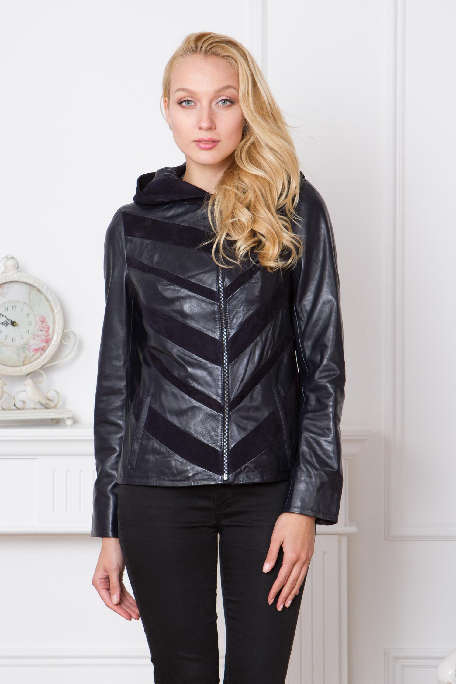 Женская кожаная куртка из натуральной кожи с капюшоном, без отделки от Московская Меховая Компания