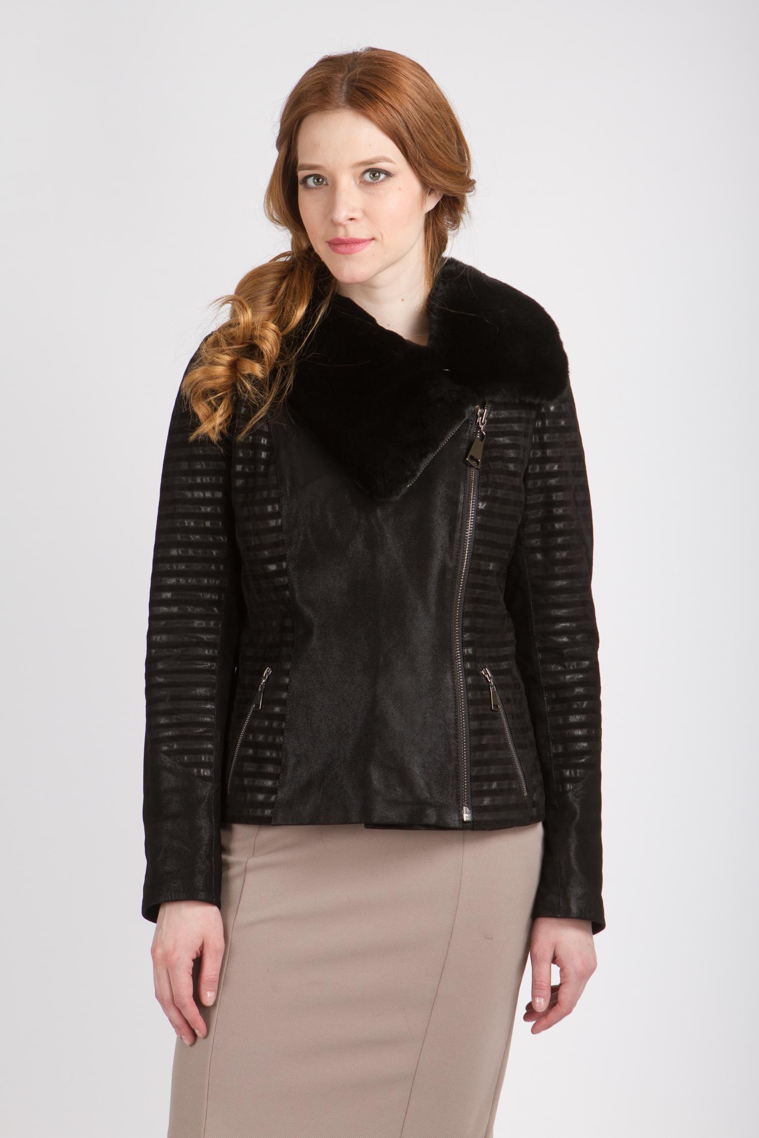 Женская кожаная куртка из натуральной кожи с воротником, отделка кролик<br><br>Длина см: Короткая (51-74 )<br>Материал: Кожа овчина<br>Цвет: черный<br>Застежка: на молнии<br>Пол: Женский<br>Размер RU: 52