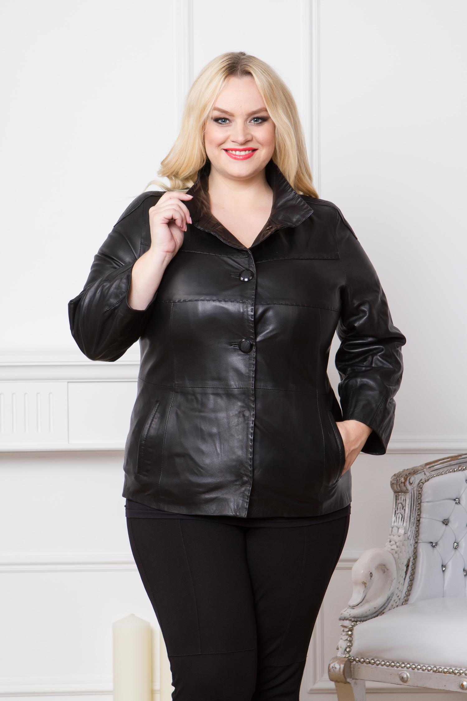 Женская кожаная куртка из натуральной кожи с воротником, без отделкиЦвет - оникс (черный).<br><br>Элегантная классика никогда не выйдет из моды. Кожаная куртка пиджачного типа - это маст-хэв для поклонниц повседневного или офисного стиля. Модель выполнена из мягкой кожи ягненка. Благодаря качественному натуральному материалу, куртка не будет деформироваться. Хорошая форма продержится несколько сезонов.<br><br>Модель застегивается на пуговицы и кнопки. Дополняет изделие воротник-стойка и боковые карманы.<br><br>Материал: Кожа овчина<br>Воротник: стойка<br>Длина см: Короткая (51-74 )<br>Цвет: черный<br>Вид застежки: центральная<br>Застежка: на пуговицы<br>Пол: Женский<br>Размер RU: 50