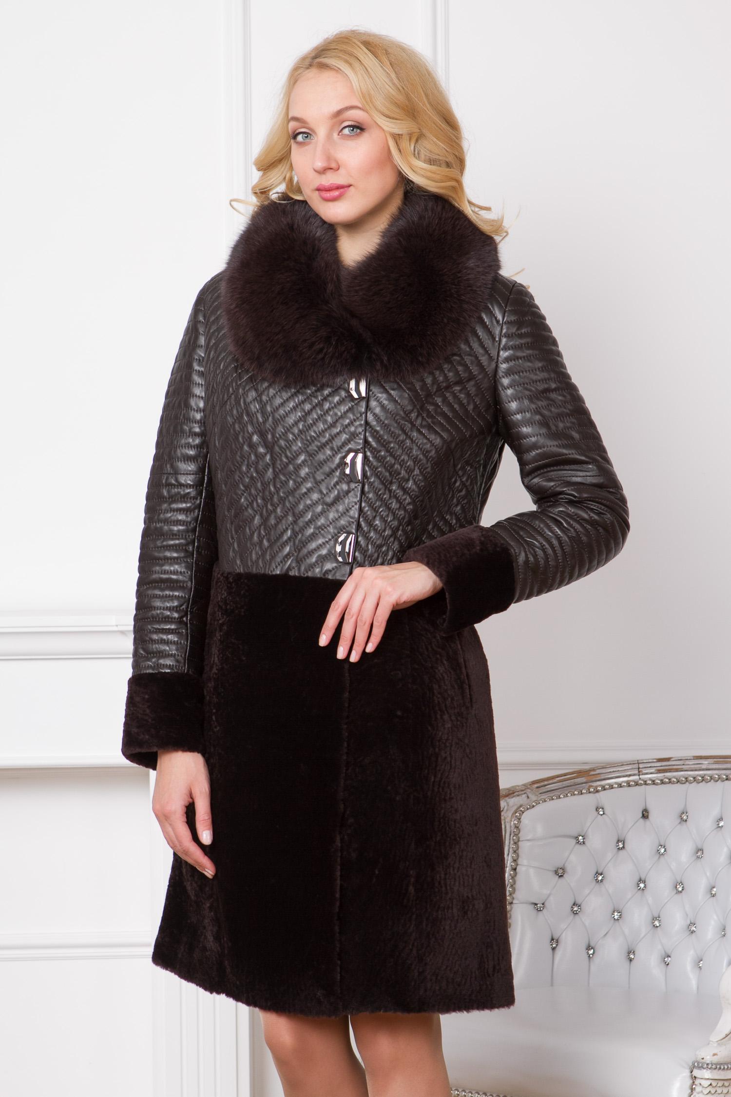 Женское кожаное пальто из натуральной кожи с воротником, отделка песец Женское кожаное пальто из натуральной кожи с воротником, отделка песец