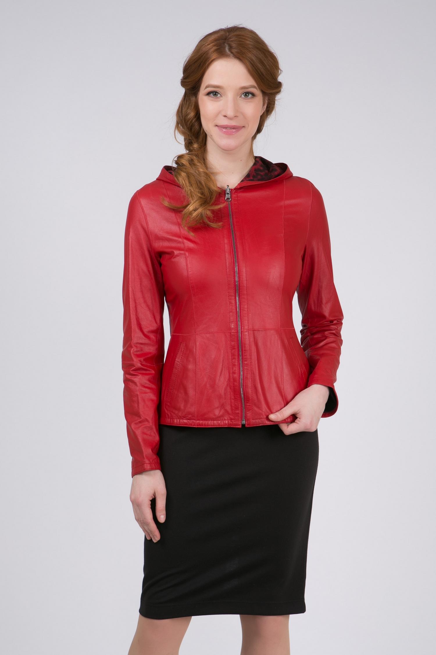 Женская кожаная куртка из натуральной кожи с капюшоном, без отделки<br><br>Воротник: капюшон<br>Длина см: Короткая (51-74 )<br>Материал: Кожа овчина<br>Цвет: красный<br>Вид застежки: центральная<br>Застежка: на молнии<br>Пол: Женский<br>Размер RU: 48