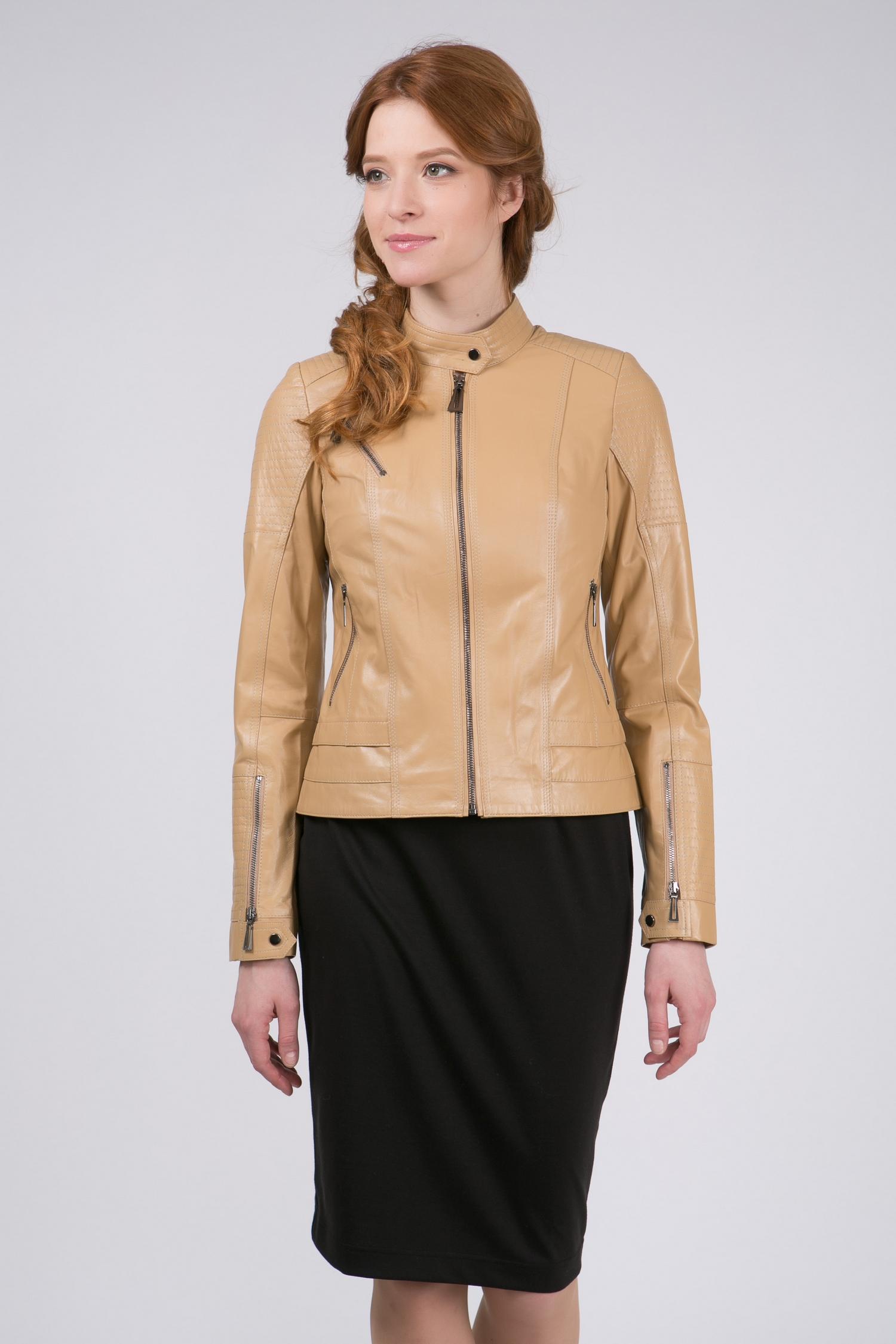Женская кожаная куртка из натуральной кожи с воротником, без отделки<br><br>Воротник: стойка<br>Длина см: Короткая (51-74 )<br>Материал: Кожа овчина<br>Цвет: бежевый<br>Вид застежки: центральная<br>Застежка: на молнии<br>Пол: Женский<br>Размер RU: 48