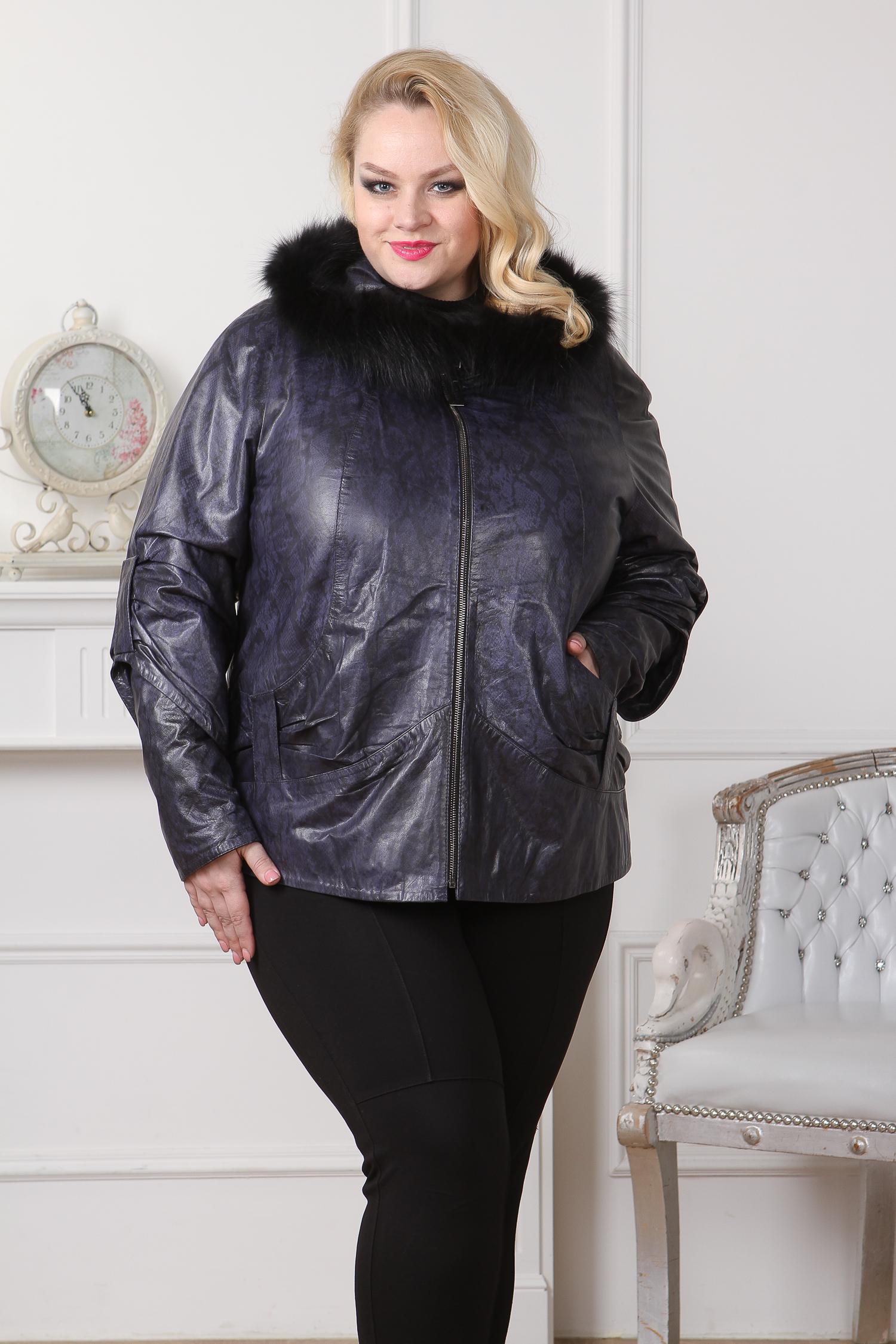 Женская кожаная куртка из натуральной кожи с капюшоном, отделка енот