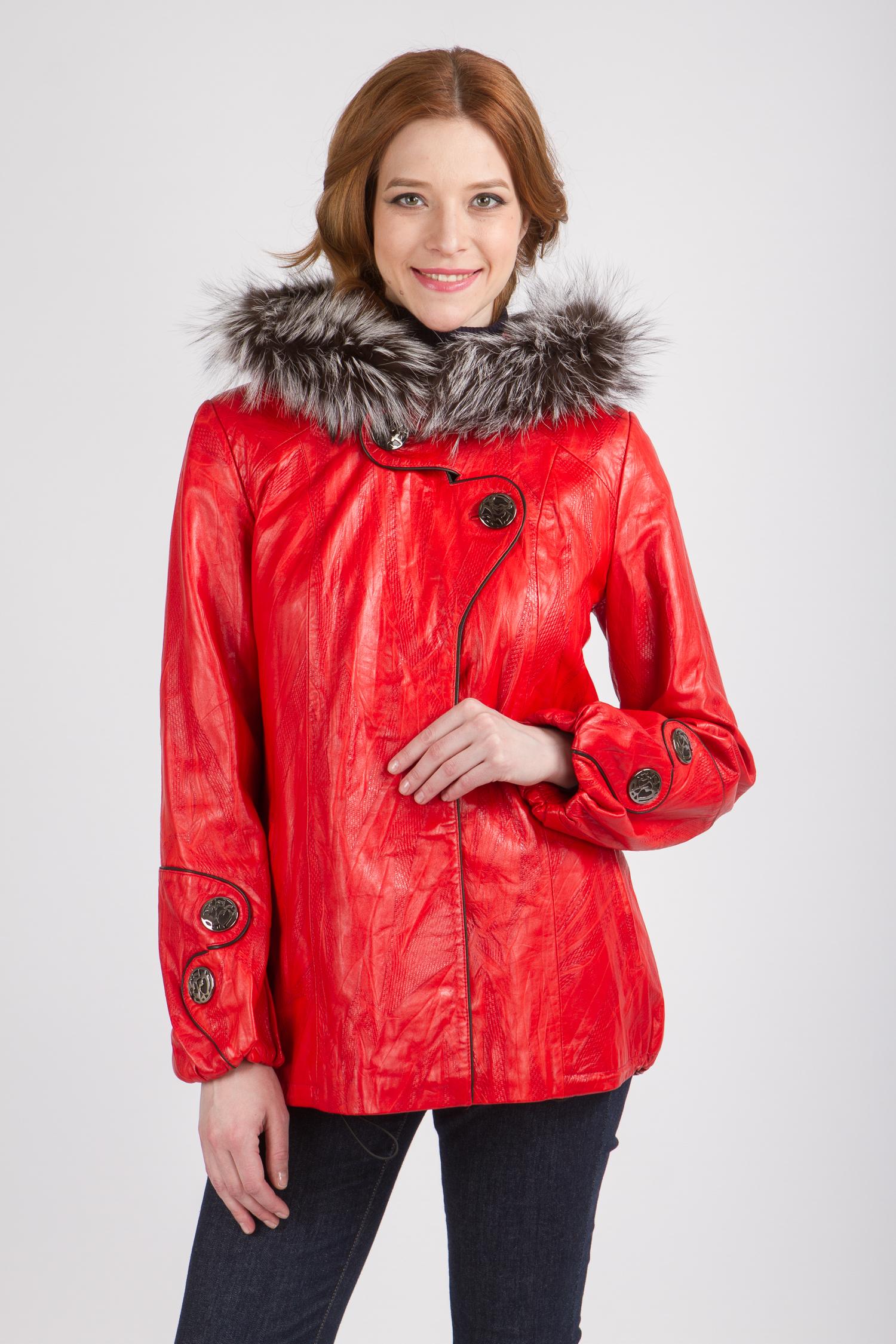 Женская кожаная куртка из натуральной кожи с капюшоном, отделка чернобурка