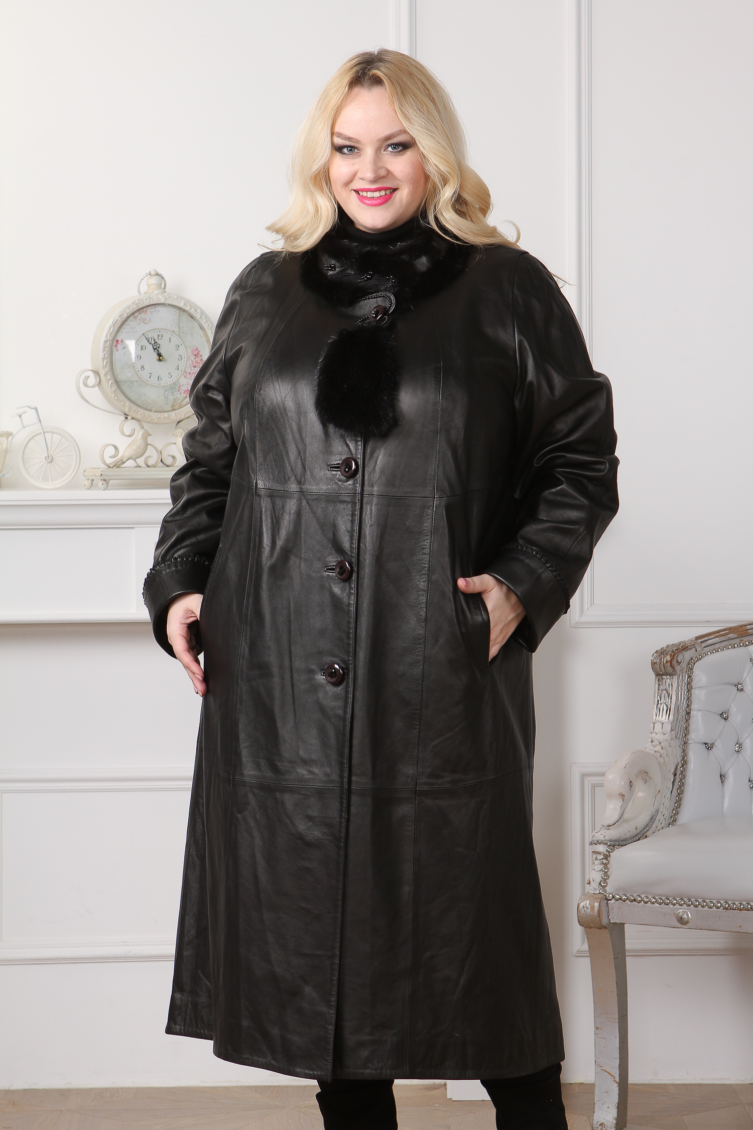 Женское кожаное пальто из натуральной кожи с воротником, отделка ондатра