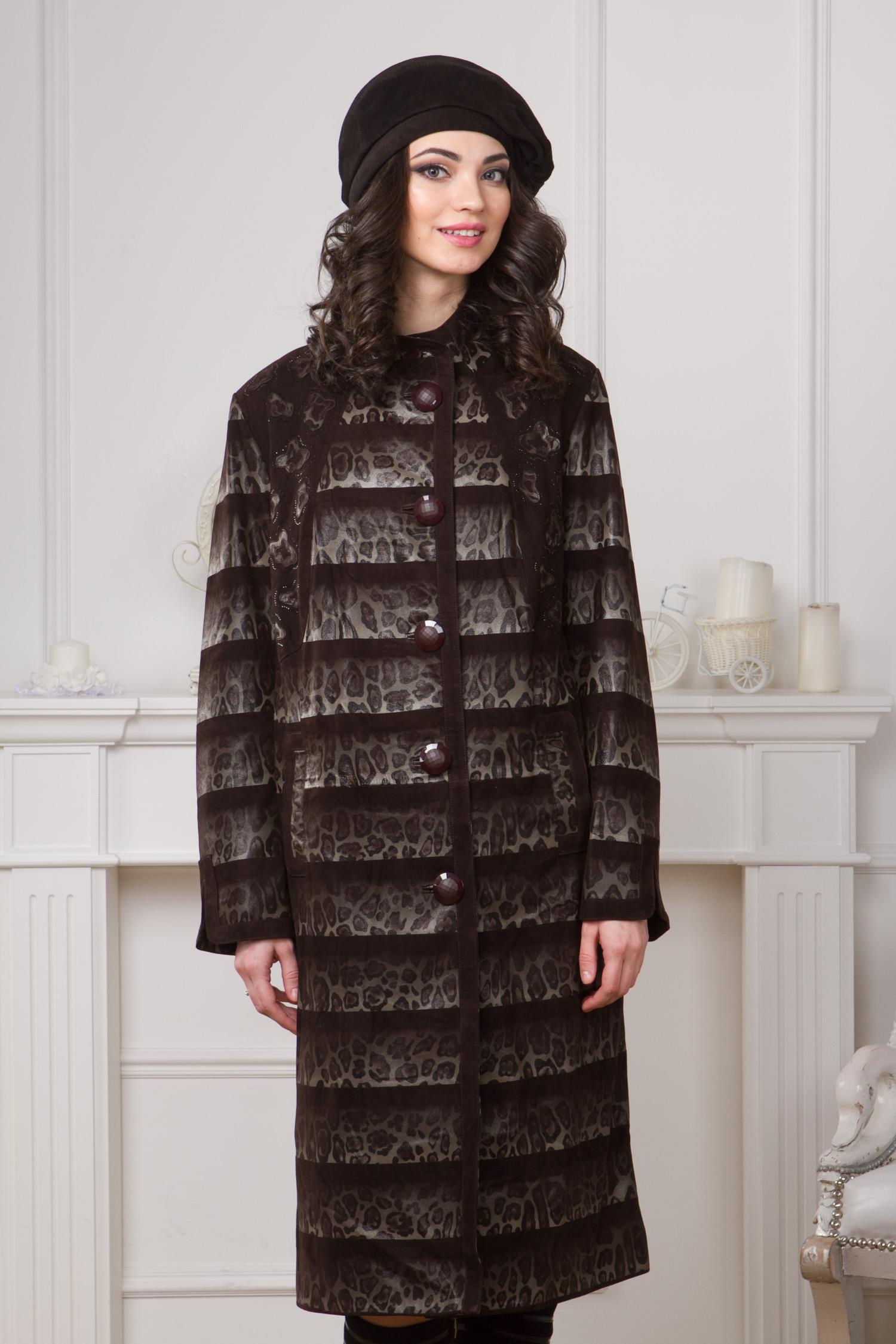 Женское кожаное пальто из натуральной замши с воротником, без отделки