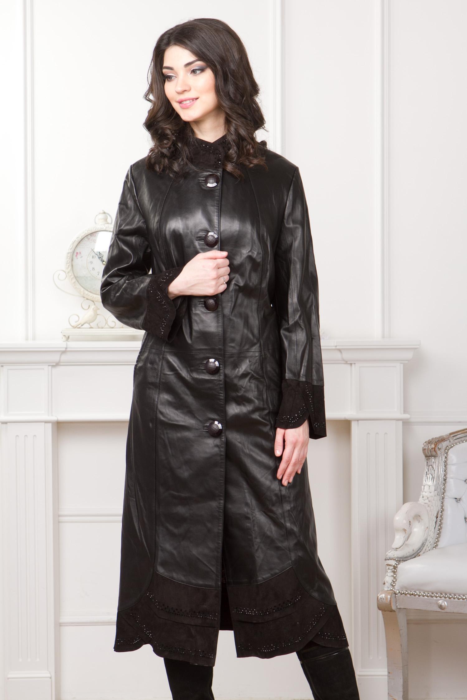 Женское кожаное пальто из натуральной кожи с воротником, отделка замша Женское кожаное пальто из натуральной кожи с воротником, отделка замша
