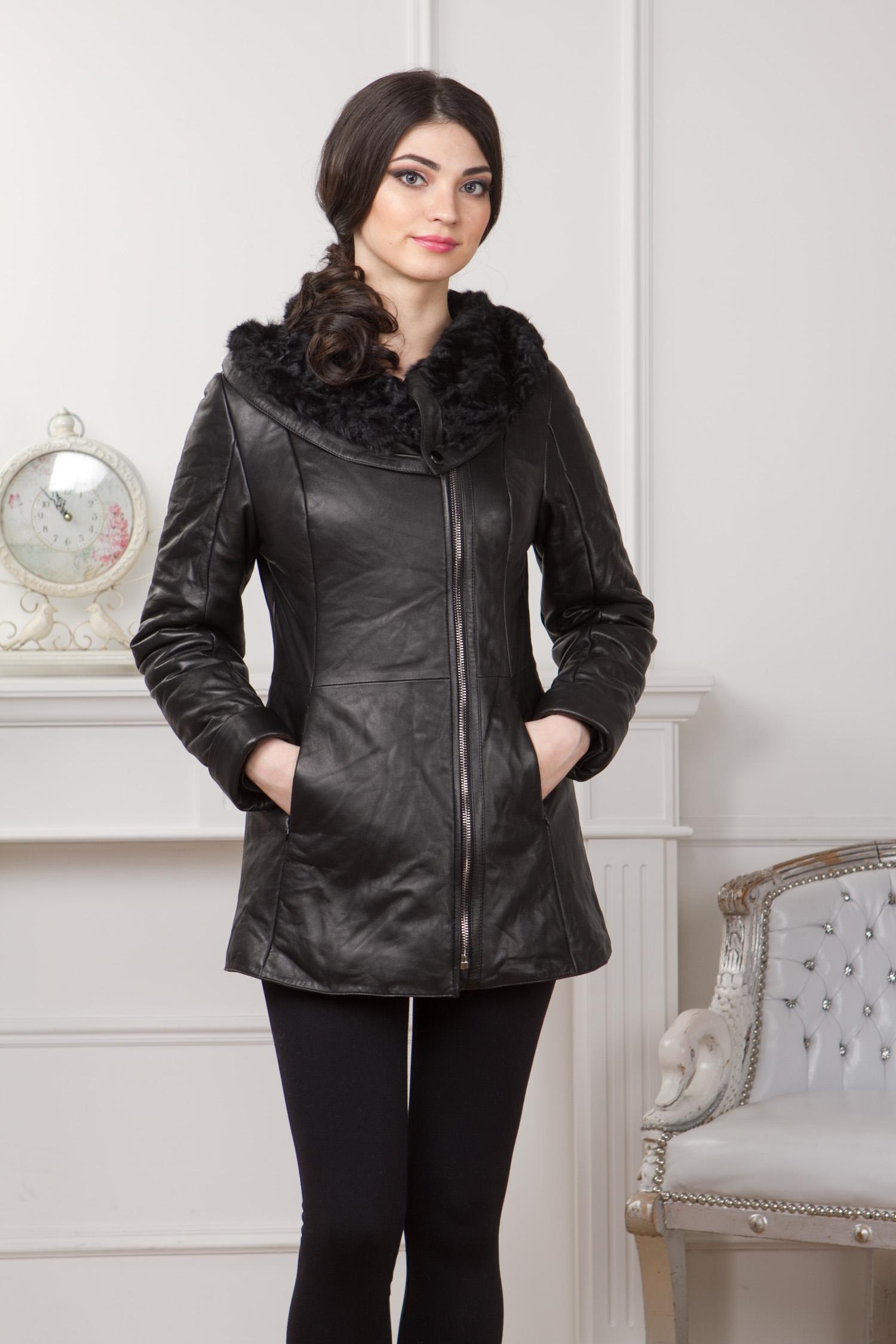 Женская кожаная куртка из натуральной кожи с капюшоном, отделка овчина