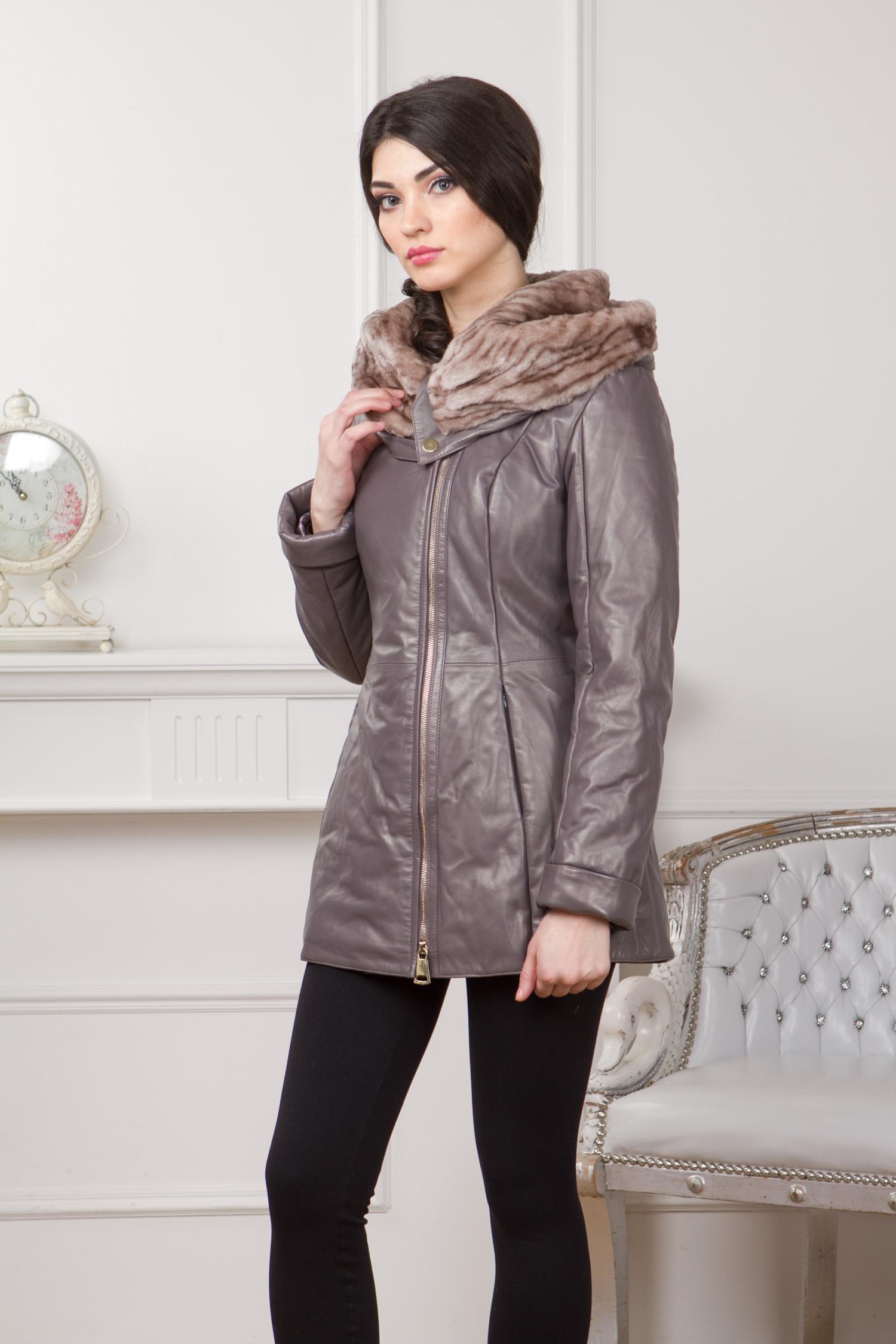 Женская кожаная куртка из натуральной кожи с капюшоном, отделка мутон<br><br>Воротник: капюшон<br>Длина см: Короткая (51-74 )<br>Материал: Кожа овчина<br>Цвет: серый<br>Вид застежки: косая<br>Застежка: на молнии<br>Пол: Женский<br>Размер RU: 42