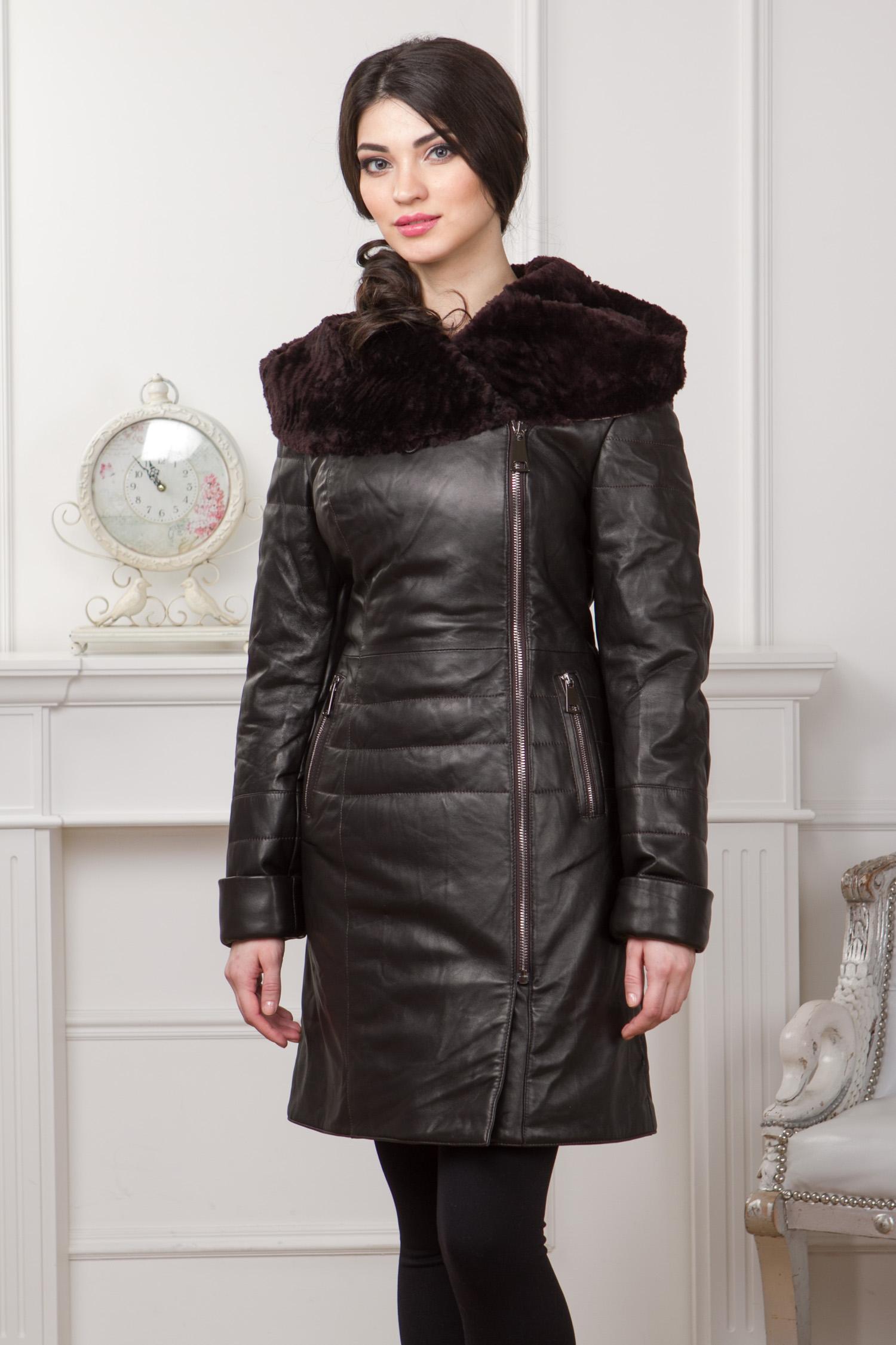 Женская кожаная куртка из натуральной кожи с капюшоном, отделка мутон