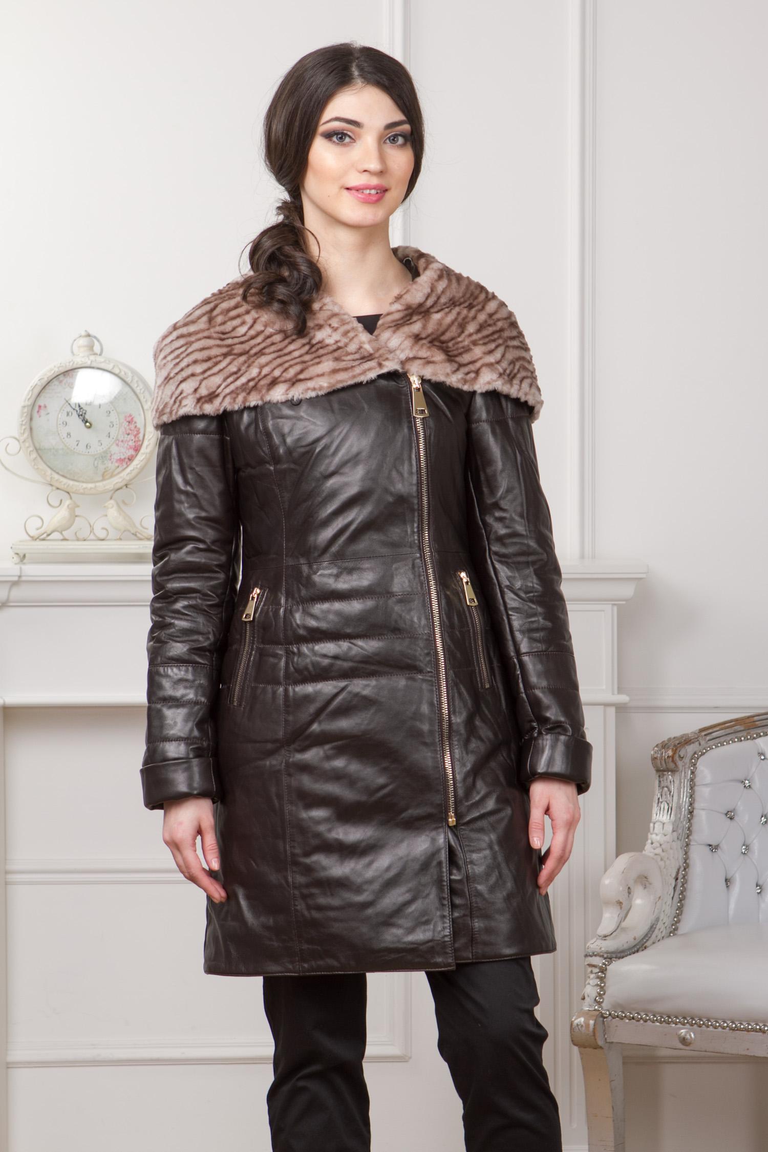 Женское кожаное пальто из натуральной кожи с капюшоном, отделка мутон Женское кожаное пальто из натуральной кожи с капюшоном, отделка мутон