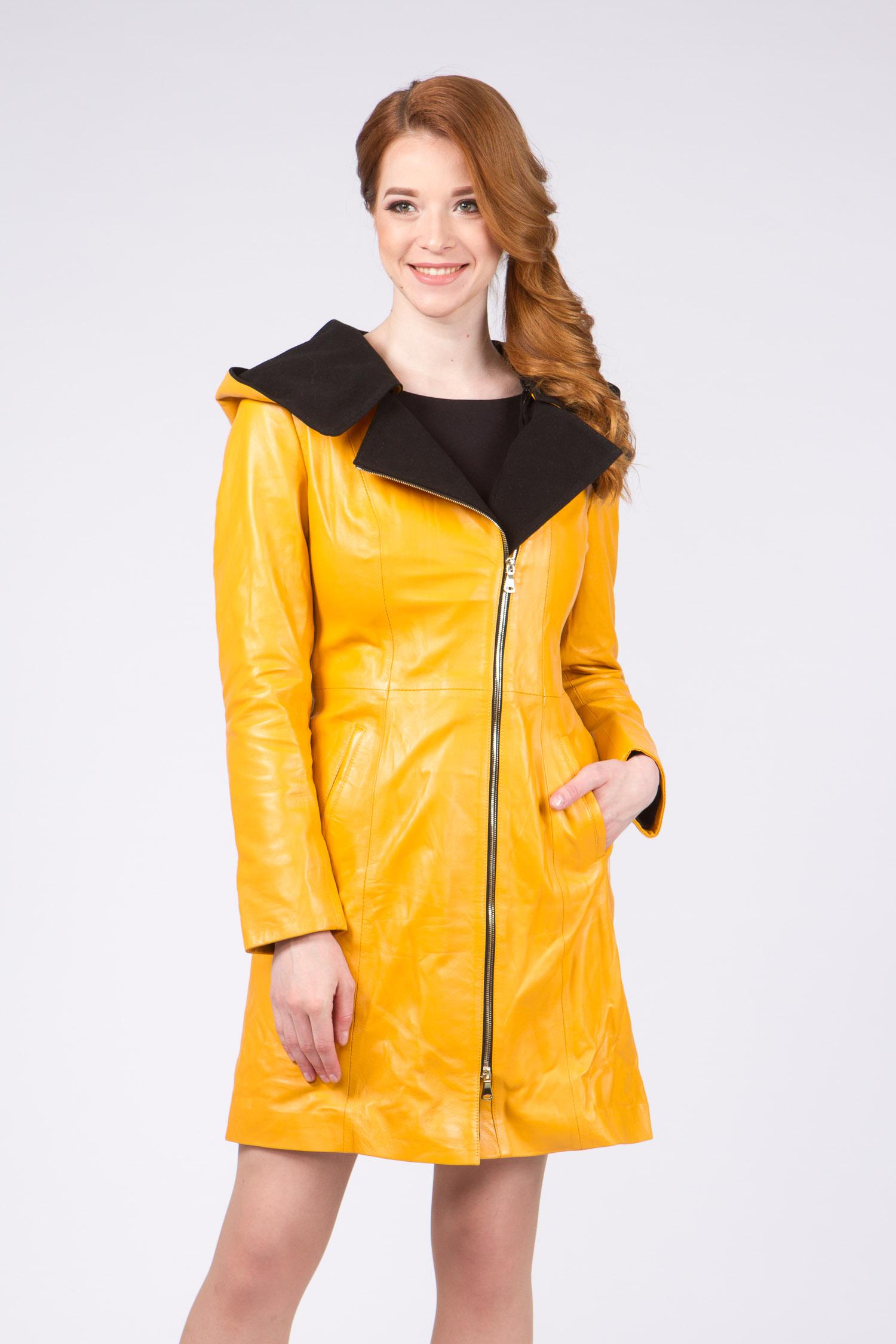 Женское кожаное пальто из натуральной кожи с капюшоном, без отделки Женское кожаное пальто из натуральной кожи с капюшоном, без отделки