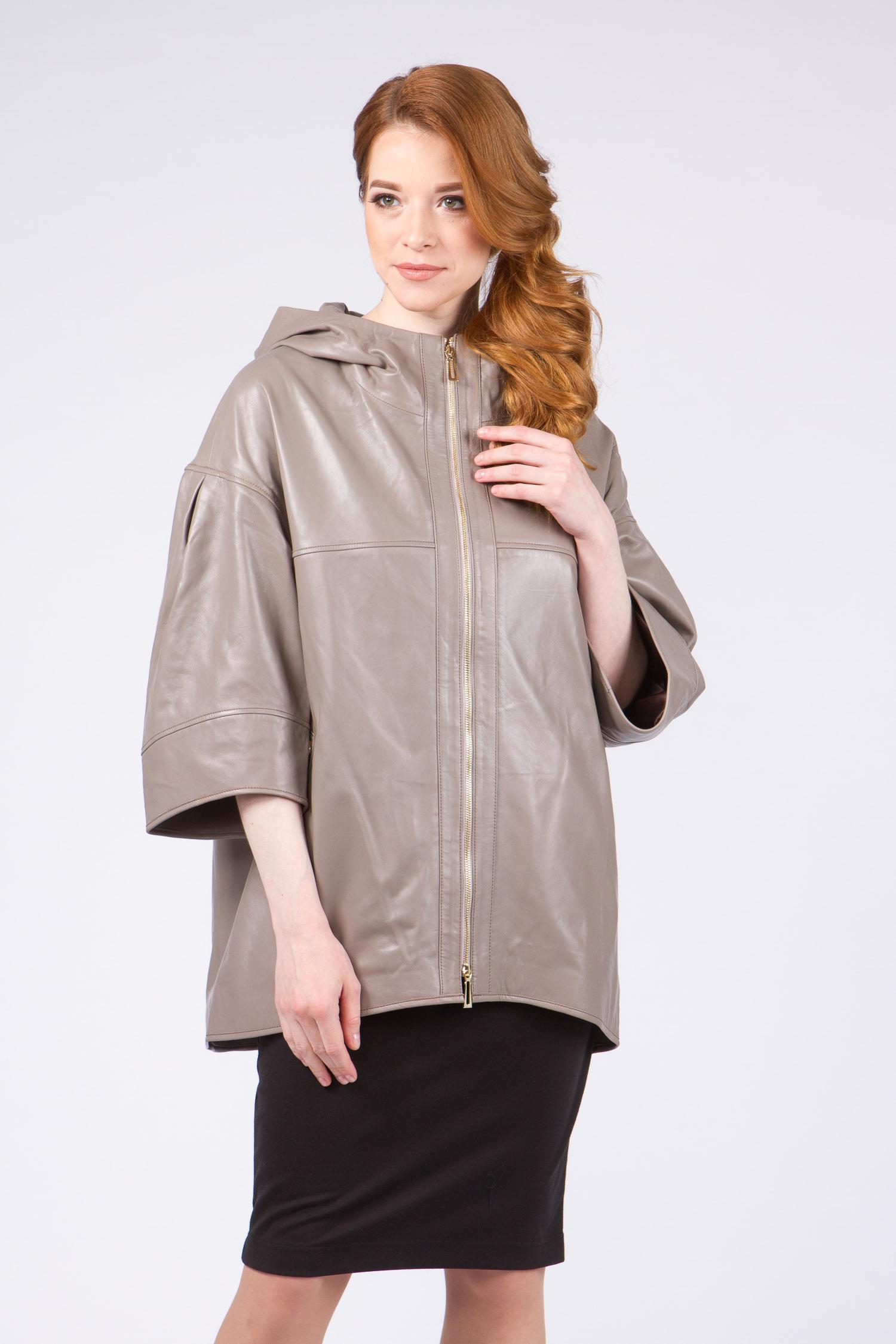Женская кожаная куртка из натуральной кожи с капюшоном, без отделки<br><br>Воротник: капюшон<br>Длина см: Средняя (75-89 )<br>Материал: Кожа овчина<br>Цвет: серый<br>Вид застежки: центральная<br>Застежка: на молнии<br>Пол: Женский<br>Размер RU: 64