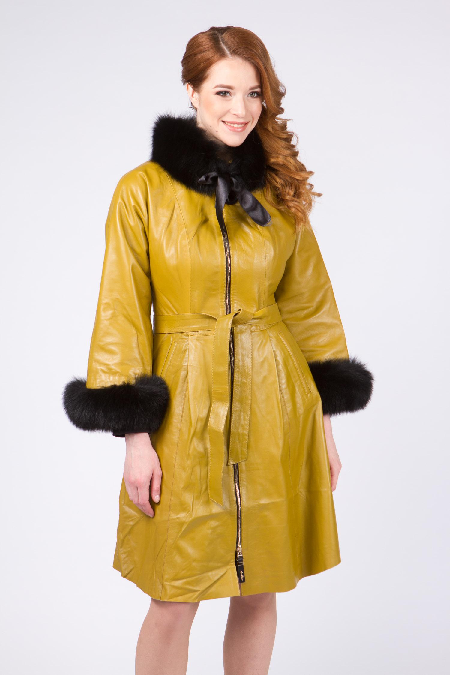 Женское кожаное пальто из натуральной кожи с воротником, отделка песец