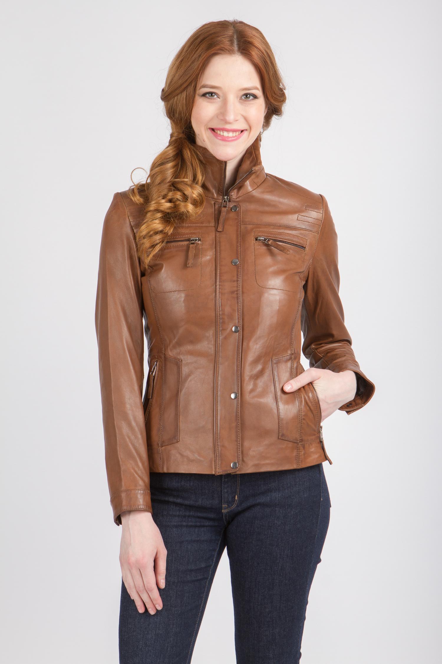 Женская кожаная куртка из натуральной кожи с воротником, без отделки<br><br>Воротник: стойка<br>Длина см: Короткая (51-74 )<br>Материал: Кожа овчина<br>Цвет: коричневый<br>Вид застежки: центральная<br>Застежка: на молнии<br>Пол: Женский<br>Размер RU: 48