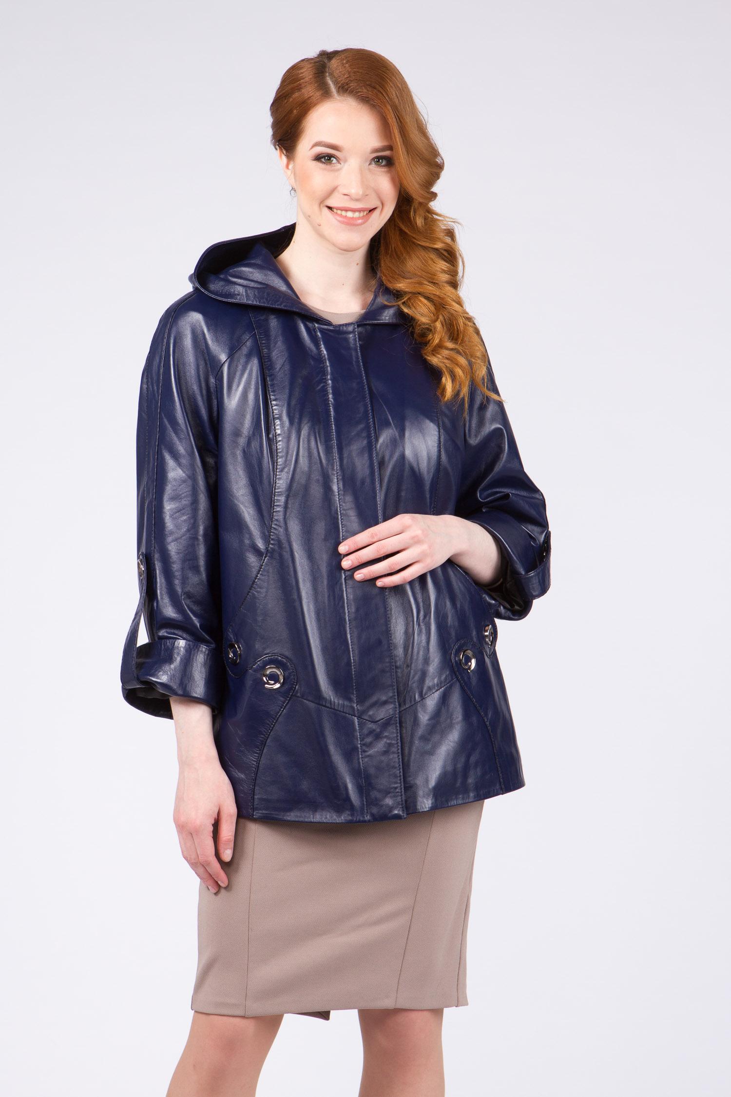 Женская кожаная куртка из натуральной кожи с капюшоном, без отделки<br><br>Воротник: капюшон<br>Длина см: Короткая (51-74 )<br>Материал: Кожа овчина<br>Цвет: синий<br>Вид застежки: потайная<br>Застежка: на молнии<br>Пол: Женский<br>Размер RU: 60