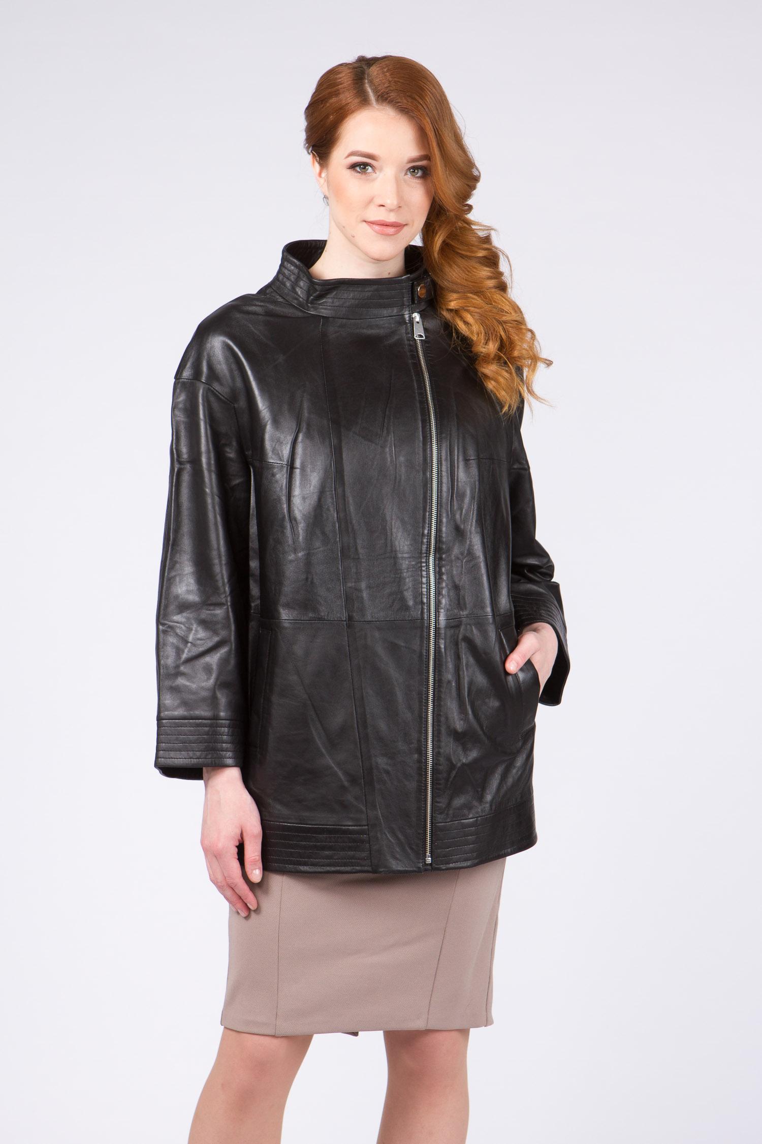 Женская кожаная куртка из натуральной кожи с воротником, без отделки<br><br>Воротник: стойка<br>Длина см: Средняя (75-89 )<br>Материал: Кожа овчина<br>Цвет: черный<br>Вид застежки: косая<br>Застежка: на молнии<br>Пол: Женский<br>Размер RU: 60