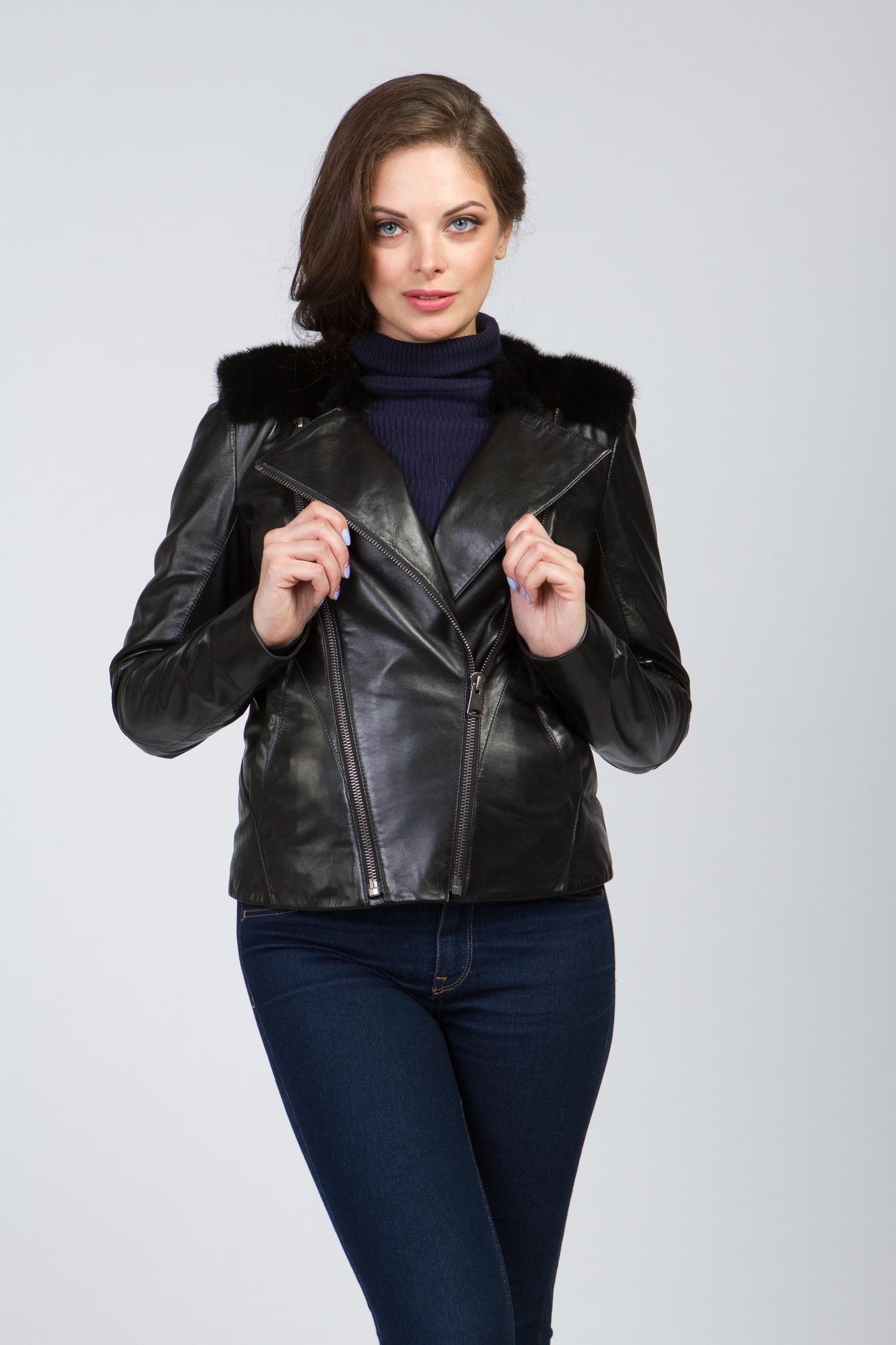 Женская кожаная куртка из натуральной кожи без воротника, отделка норка