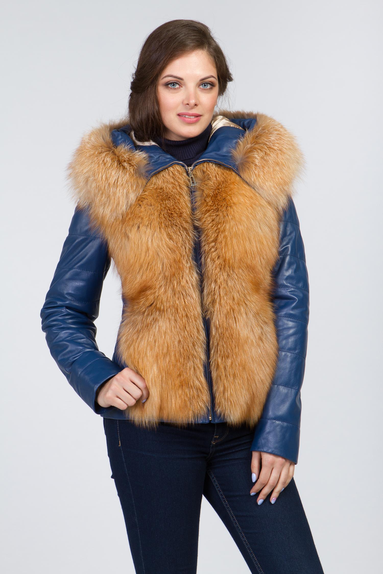 Женская кожаная куртка из натуральной кожи с капюшоном, отделка лиса Московская Меховая Компания