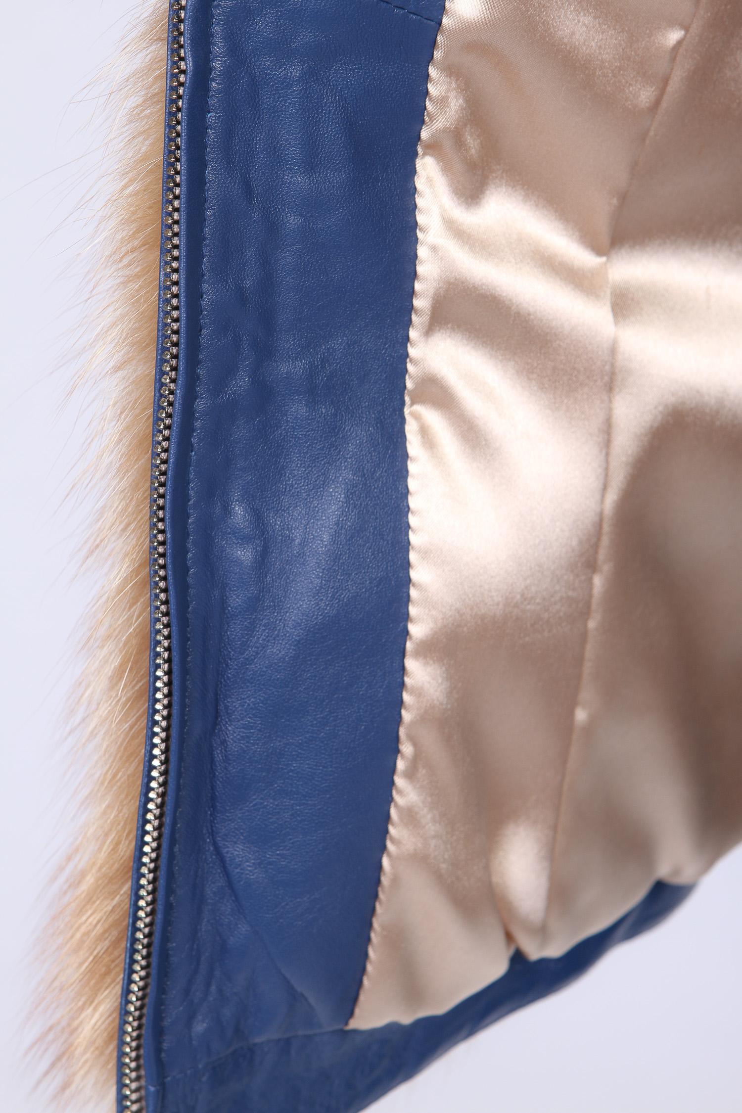 Женская кожаная куртка из натуральной кожи с капюшоном, отделка лиса от Московская Меховая Компания