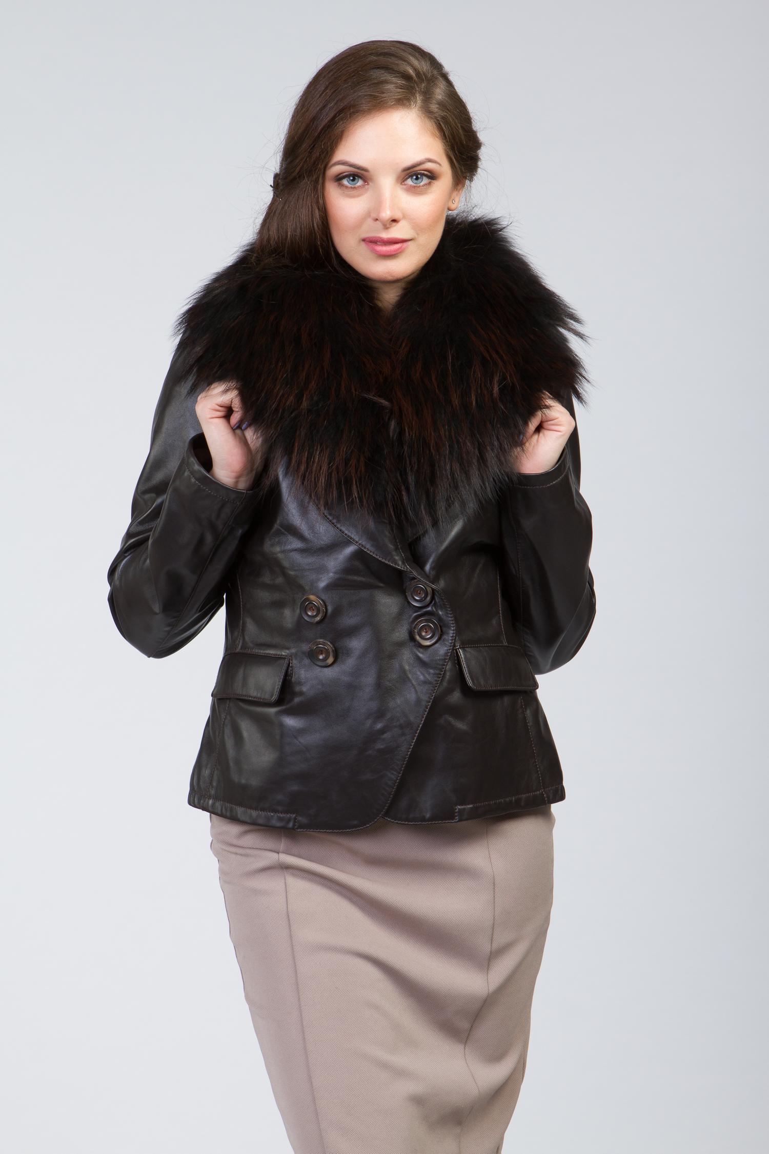 Женская кожаная куртка из натуральной кожи с воротником, отделка енот