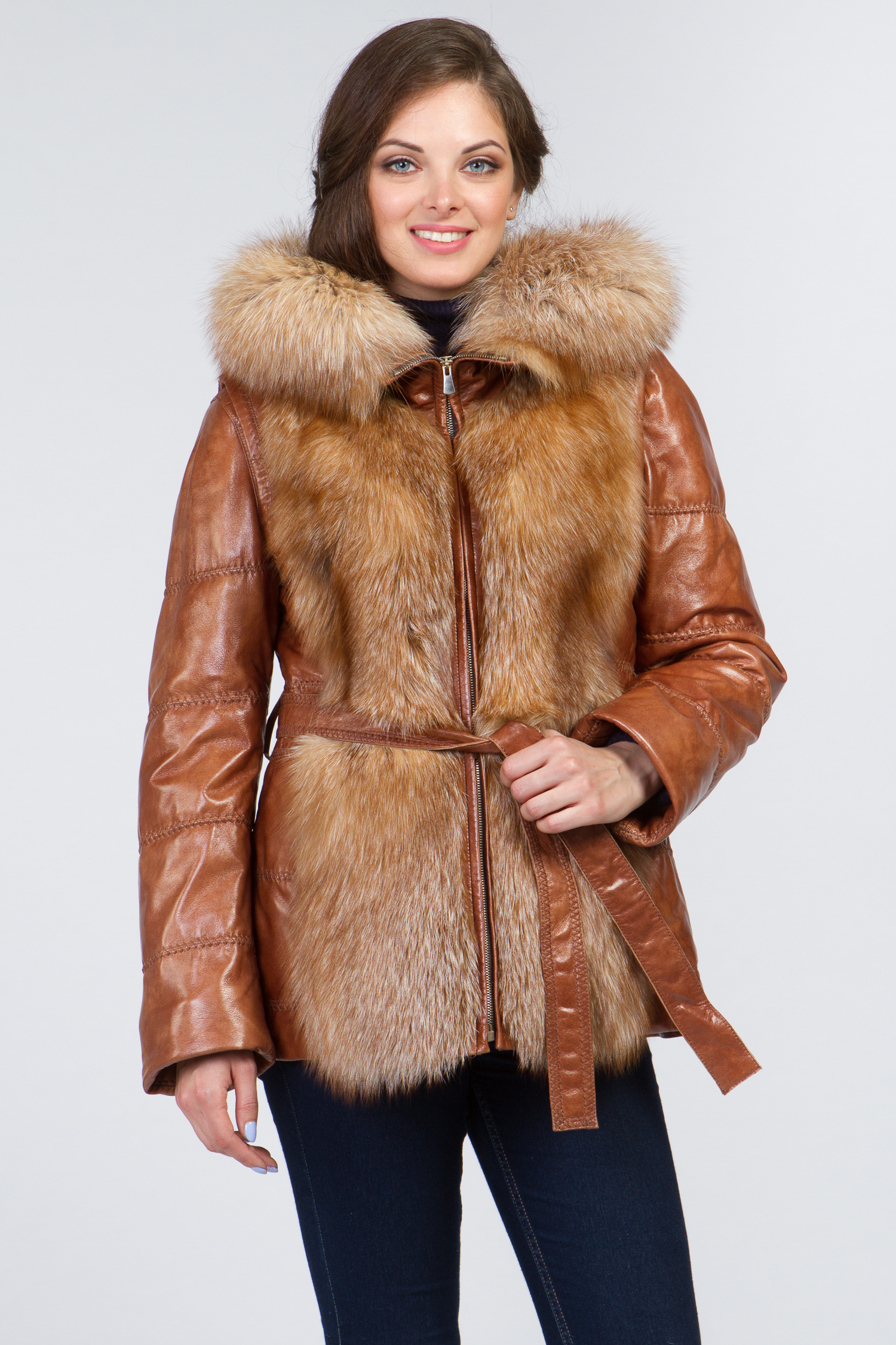 Женская кожаная куртка из натуральной кожи с капюшоном, отделка лиса