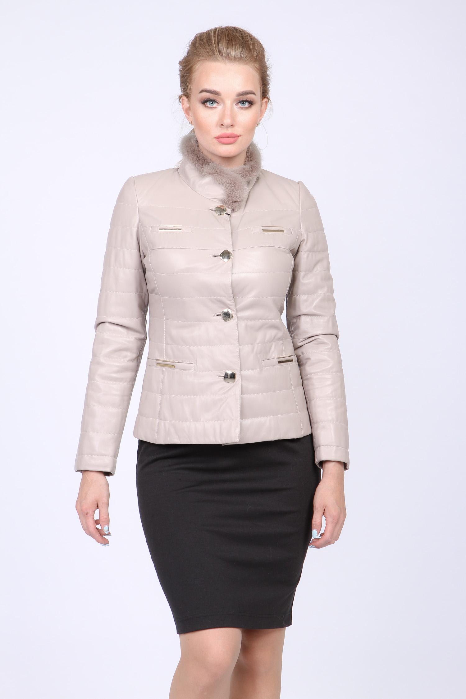 Купить со скидкой Женская кожаная куртка из натуральной кожи с воротником, отделка норка