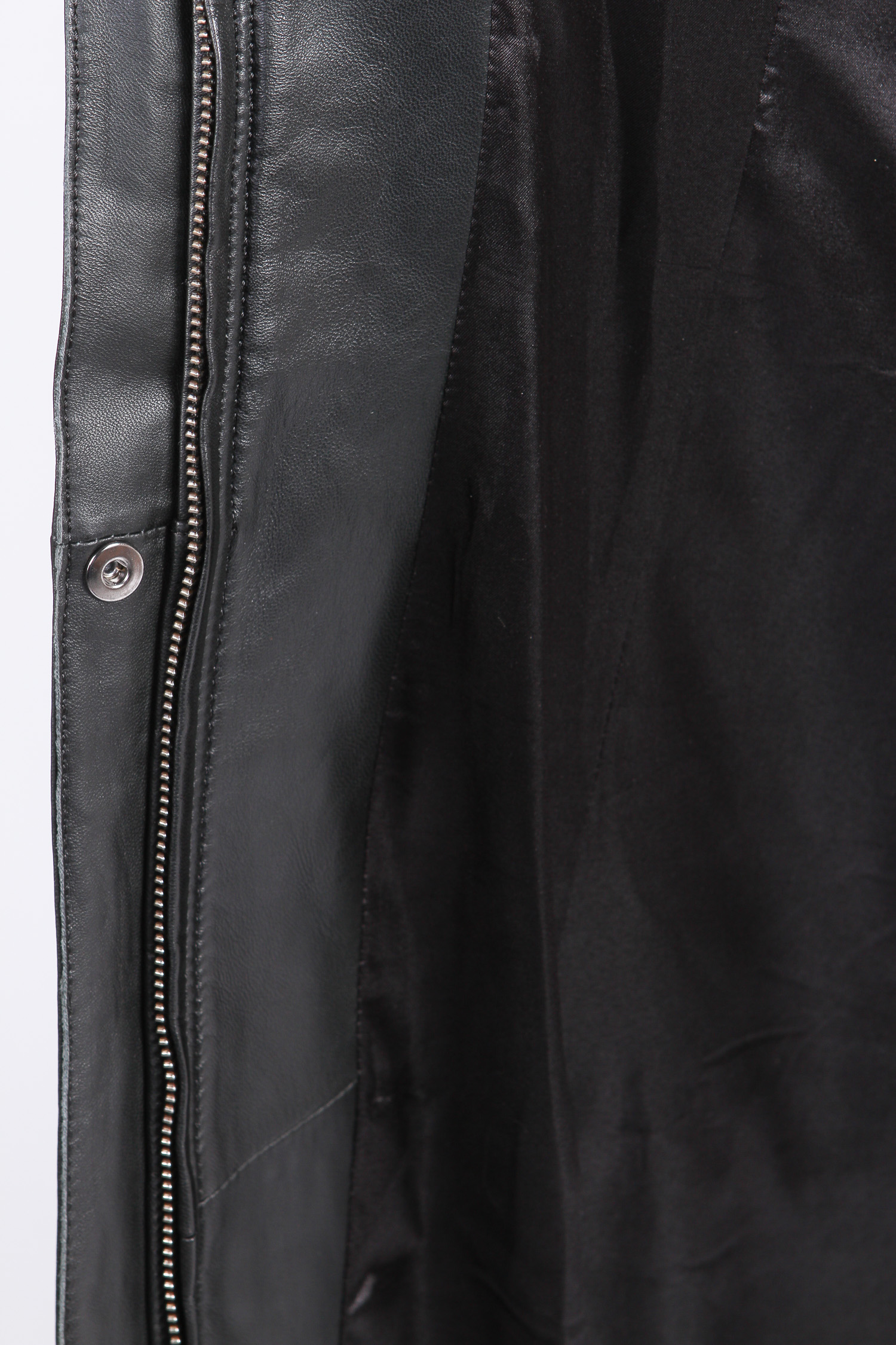 Женское кожаное пальто из натуральной кожи с воротником, отделка норка от Московская Меховая Компания